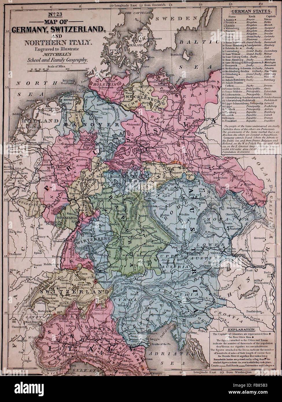Norditalien Karte.Karte Von Deutschland Der Schweiz Und Norditalien Ca 1861