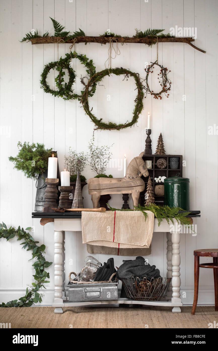Schweden, Weihnachten Dekoration Wohnzimmer Stockfoto, Bild ...