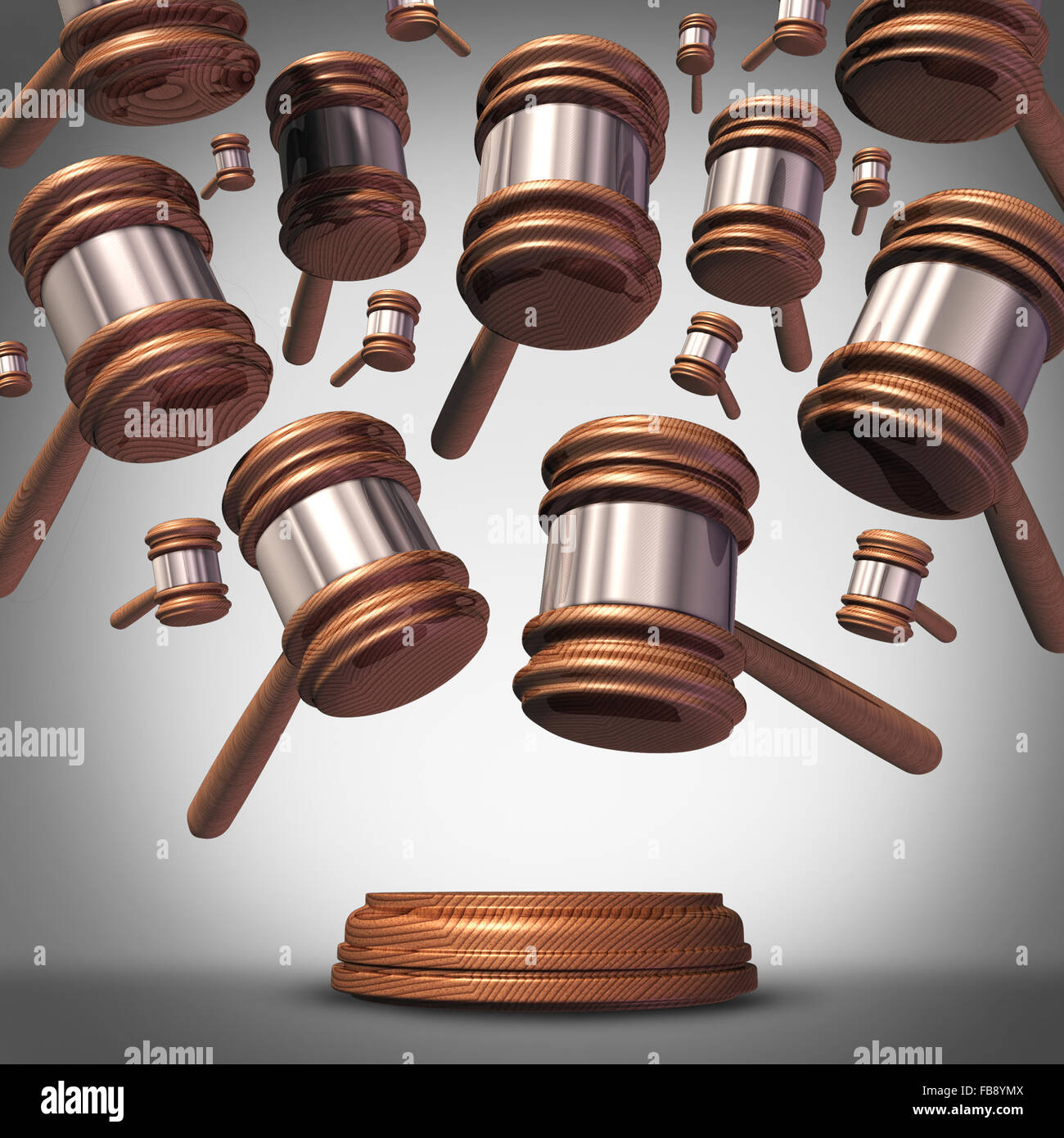 Sammelklage Klage Konzept als Kläger Gruppe vertreten durch viele Richter Schlägel oder Hammer Symbole Stockbild