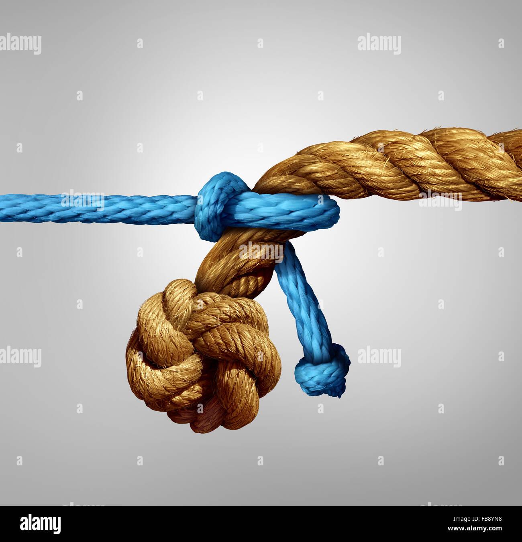 Verschiedene mittelständische Partnerschaftskonzept als eine dünne blaue Schnur ziehen an einem dicken Stockbild