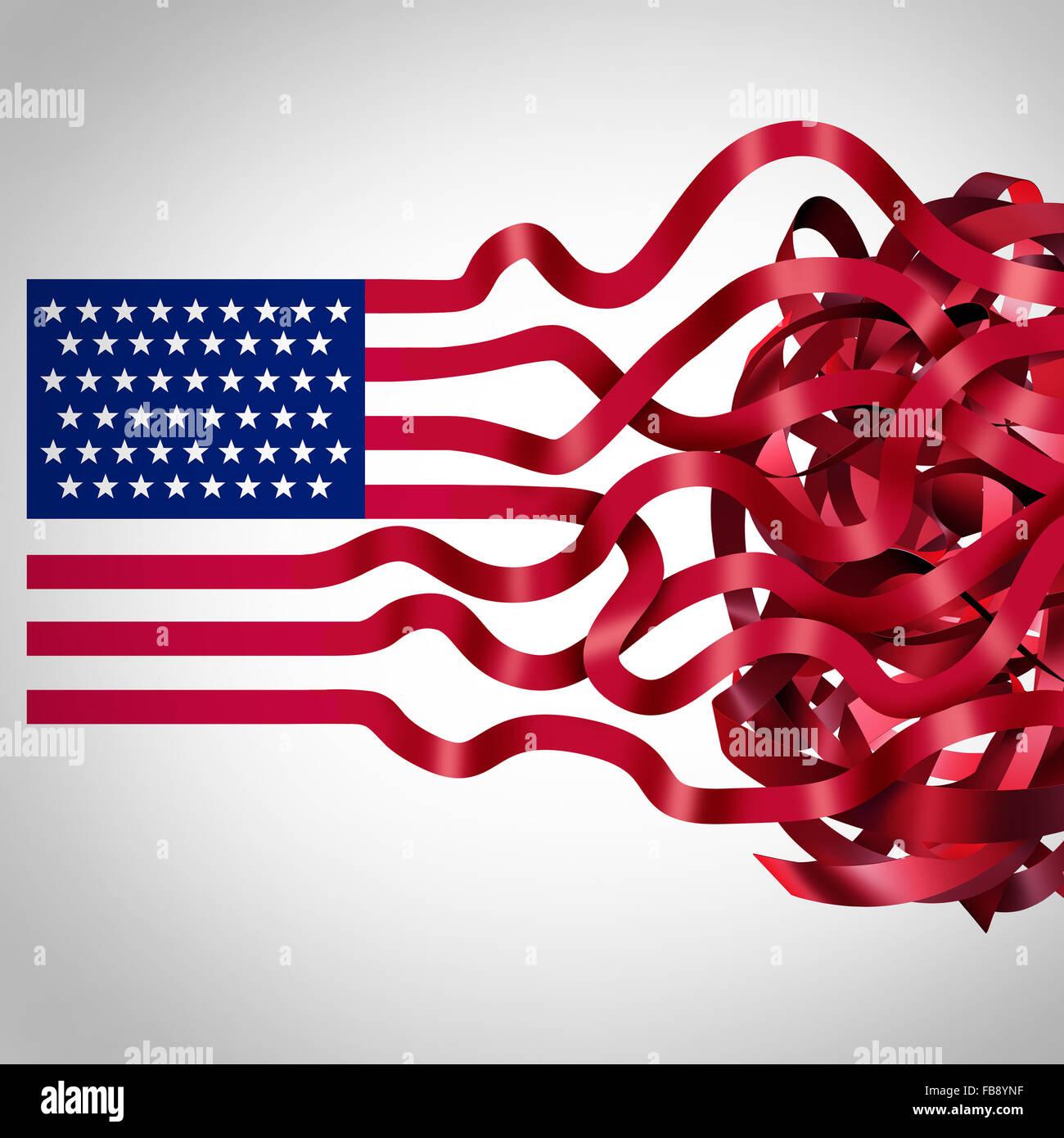 Regierung Bürokratie Konzept und amerikanische Bürokratie Symbol als Symbol der Flagge der Vereinigten Stockbild