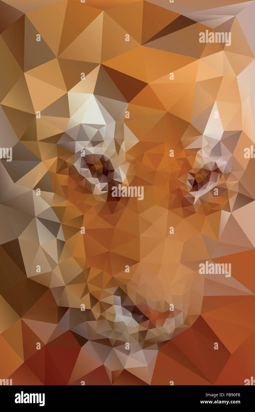 Low-Poly-Tiger Gesicht Vektor-Illustration Stockbild