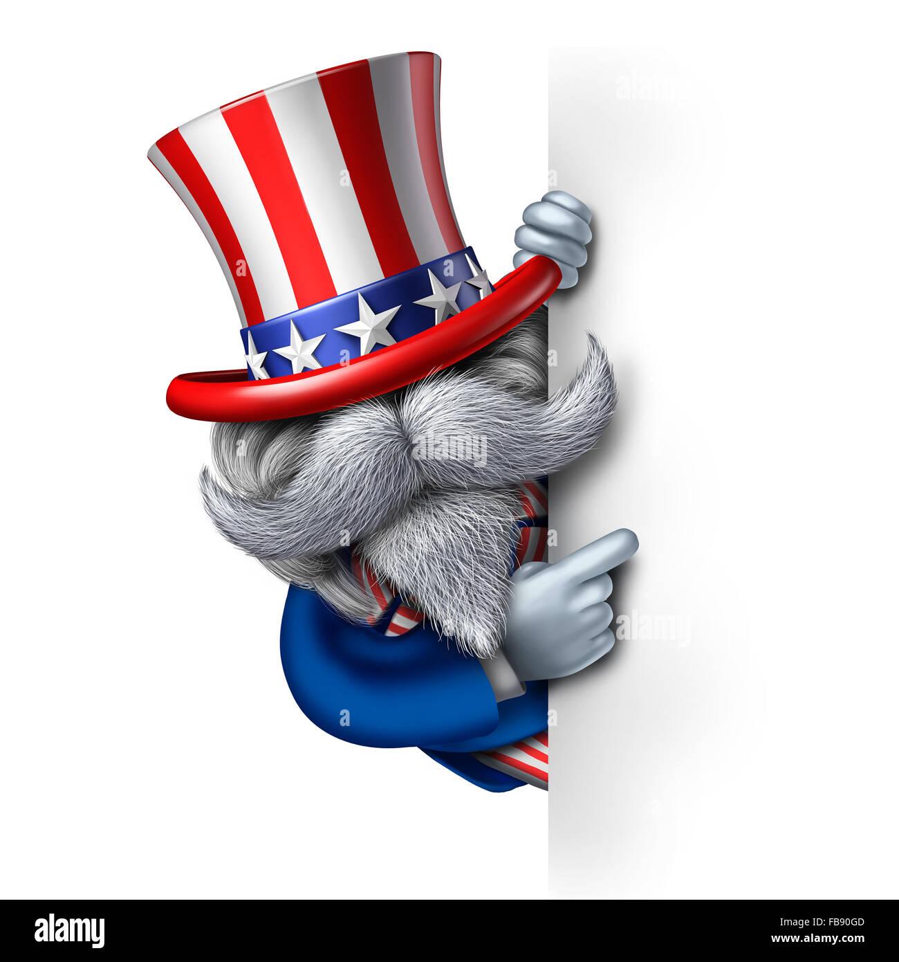 Uncle Sam Charakter mit einem leeren vertikale Schild als patriotisches Symbol der ein amerikanisches Symbol für Stockbild