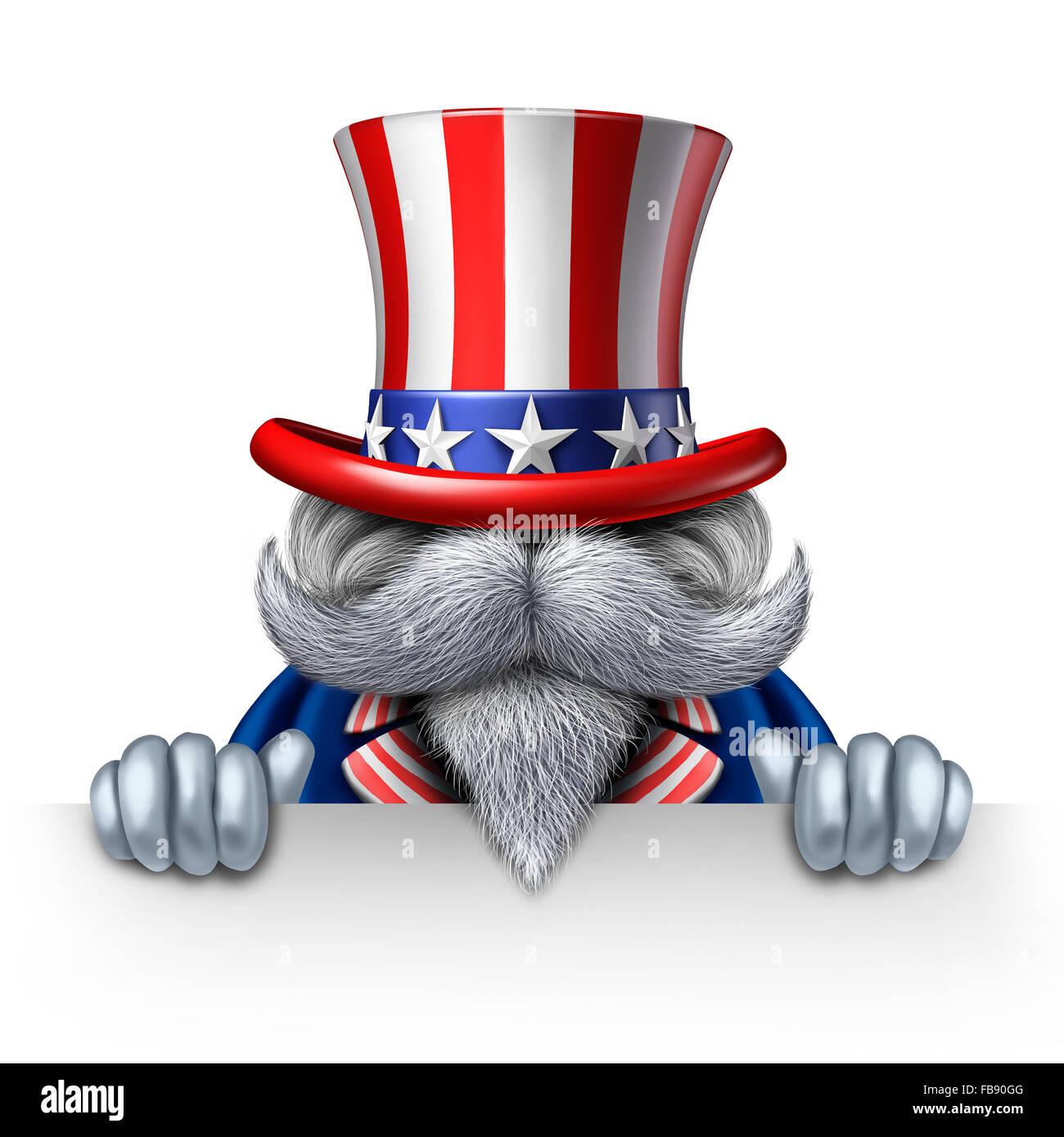 Uncle Sam Charakter mit einem leeren horizontale Schild als patriotisches Symbol der ein amerikanisches Symbol für Stockbild