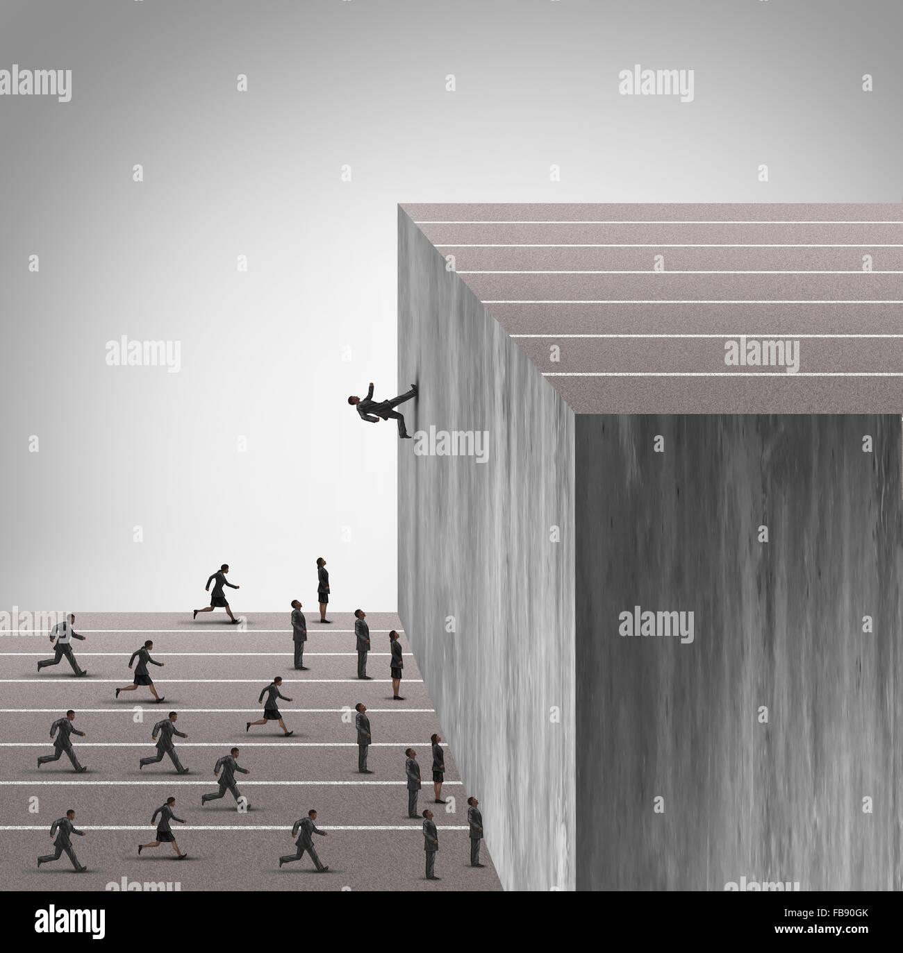Aktualisieren Sie Geschäft Geschick Konzept und Karriere Wachstum Symbol als Geschäftsmann laufen an einer Stockbild
