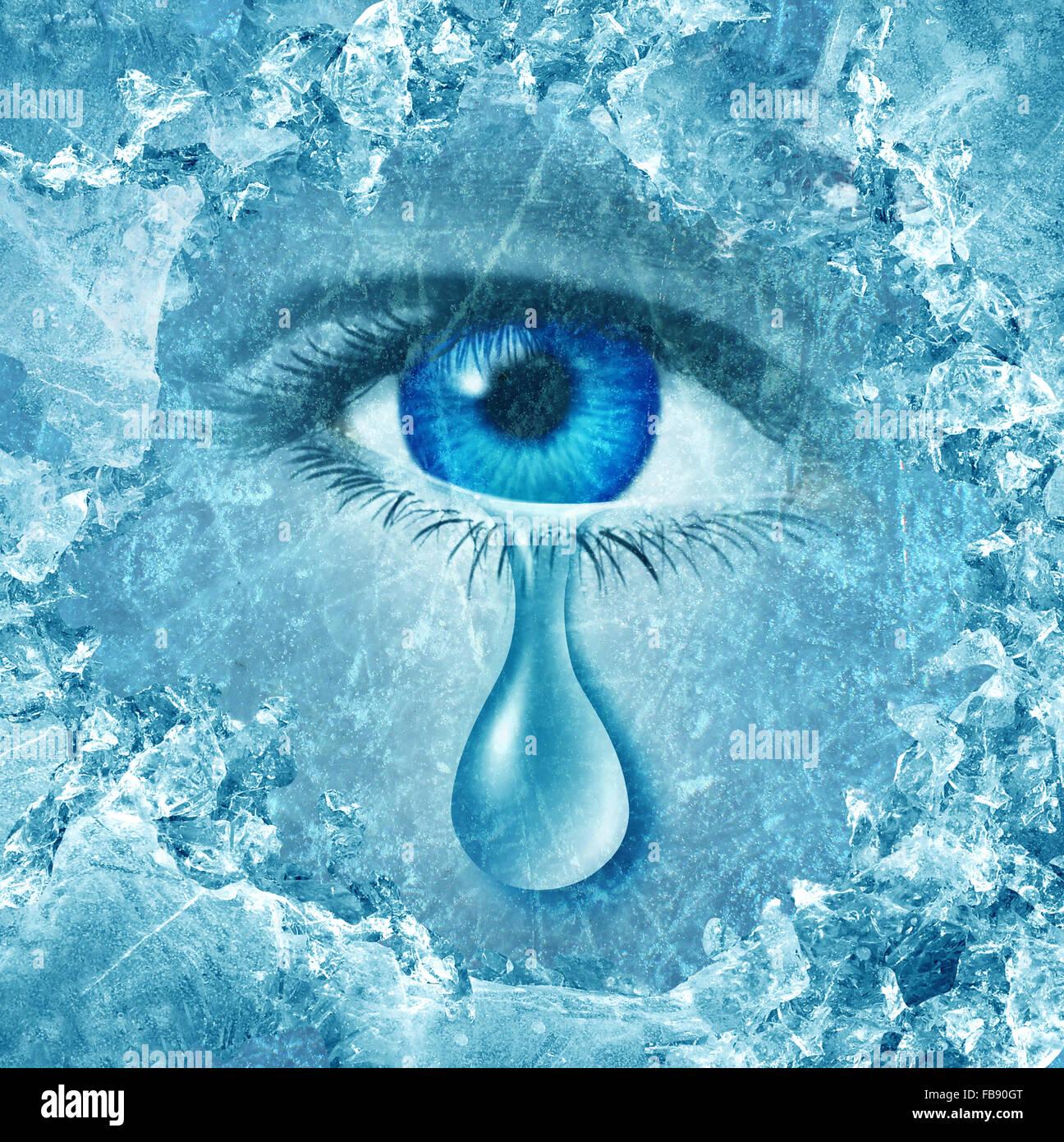 Winter Blues saisonale affektive Störung oder Depression und grauen Winter einsame Angst und emotionale Krisenkonzept Stockbild