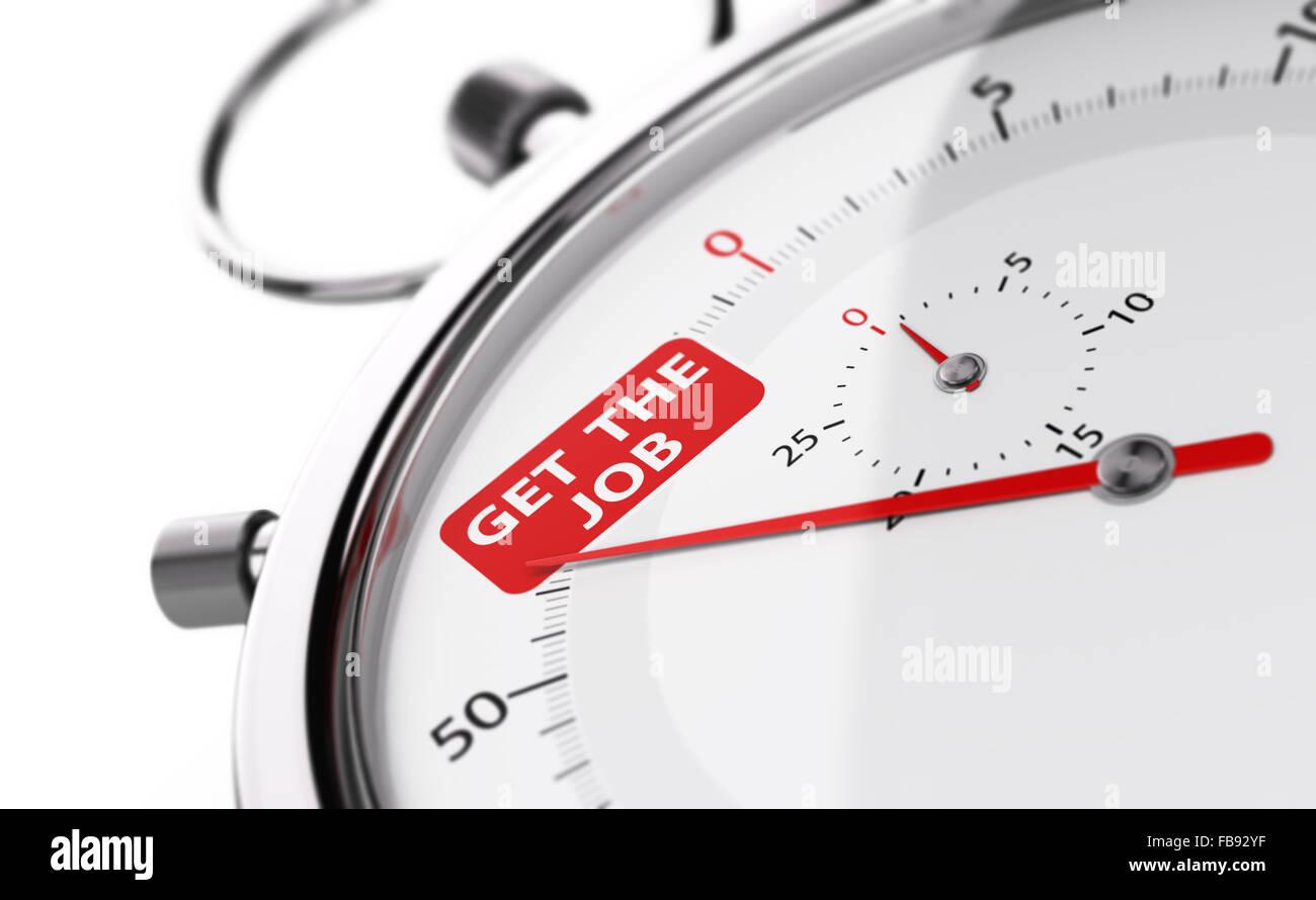 Stoppuhr-Nadel zeigt den Text bekommen den Job. Konzeptionelle Objekt auf weißem Hintergrund zur Veranschaulichung Stockbild