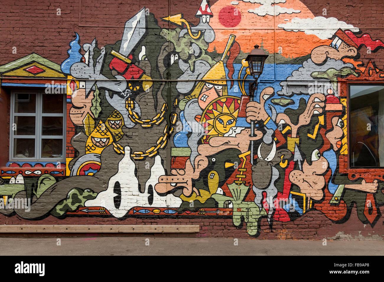 Moskau, Russland - ca. Juli 2015 - Wandbild in den Straßen von Moskau Stockbild