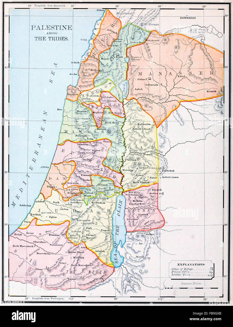 Landkarte von Palästina unter den Stämmen - altes