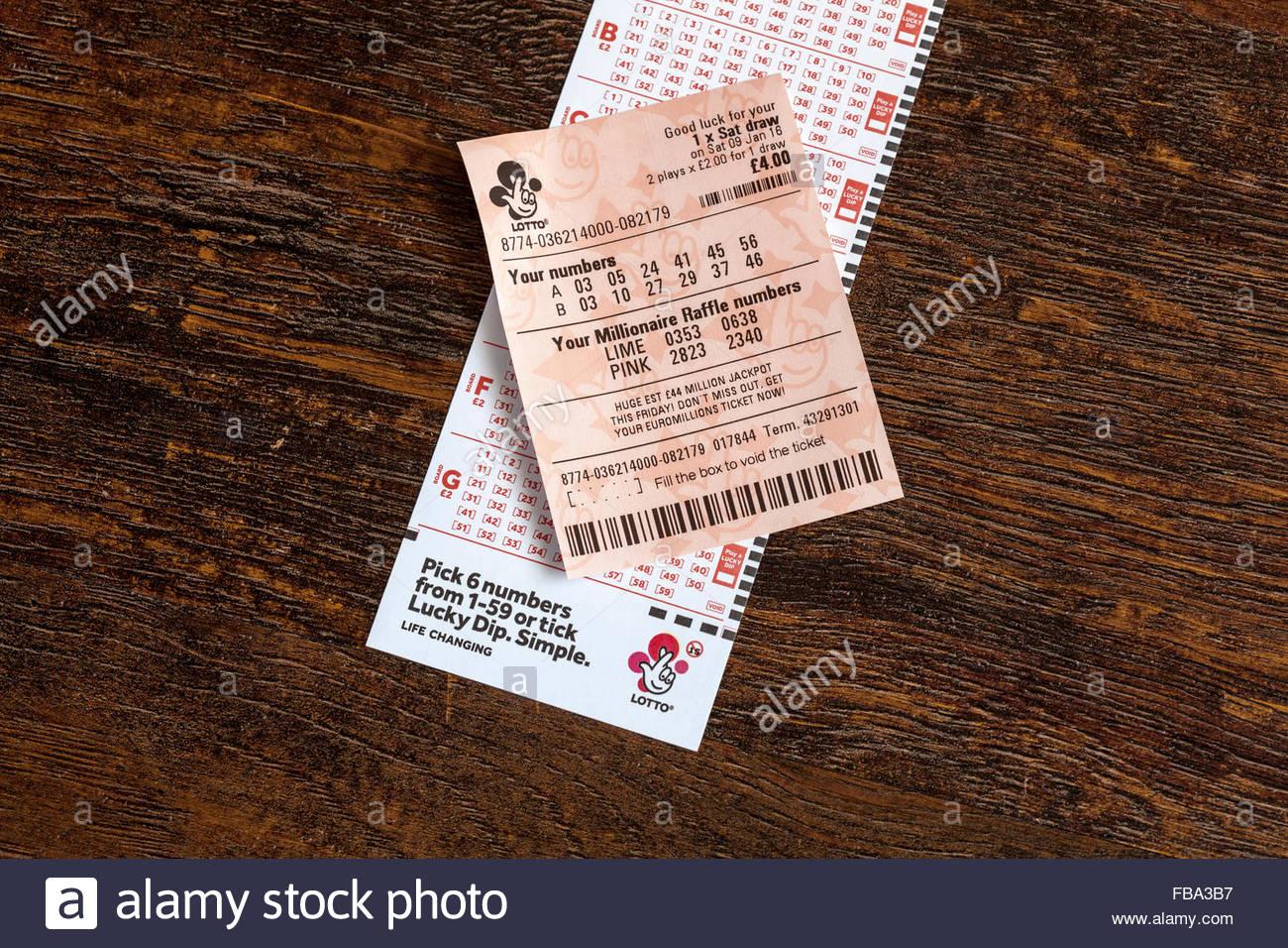 Lotterie-Slip und ticket Stockbild