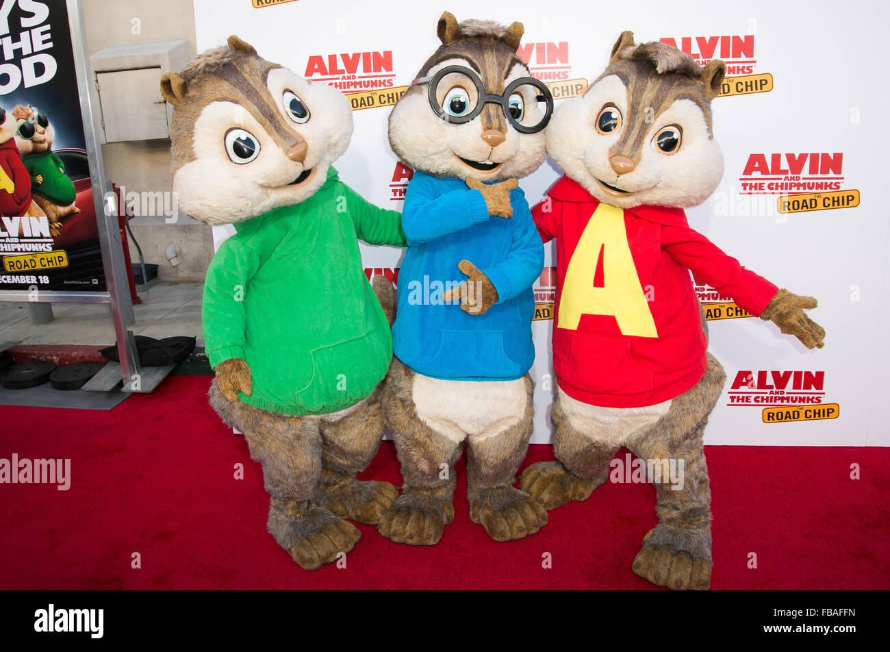 """""""Alvin und die Chipmunks: The Road-Chip"""" Premiere auf Darryl F. Zanuck Theater Featuring: Alvin und die Chipmunks wo: Los Angeles, California, Vereinigte Staaten von Amerika bei: 12. Dezember 2015 Stockfoto"""