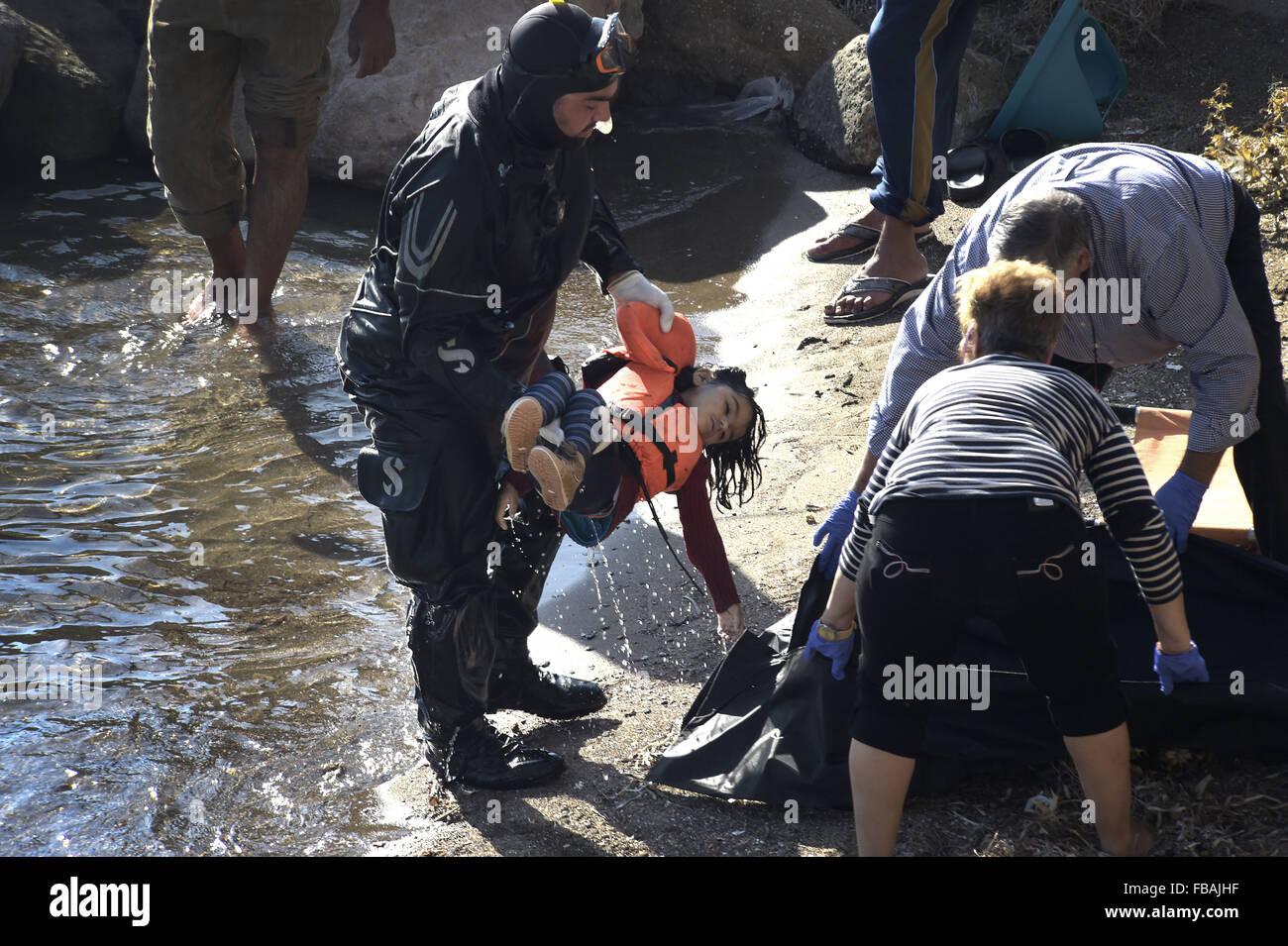 Lesbos Insel, Griechenland. 15. Oktober 2015. Ein tödlicher Unfall ...