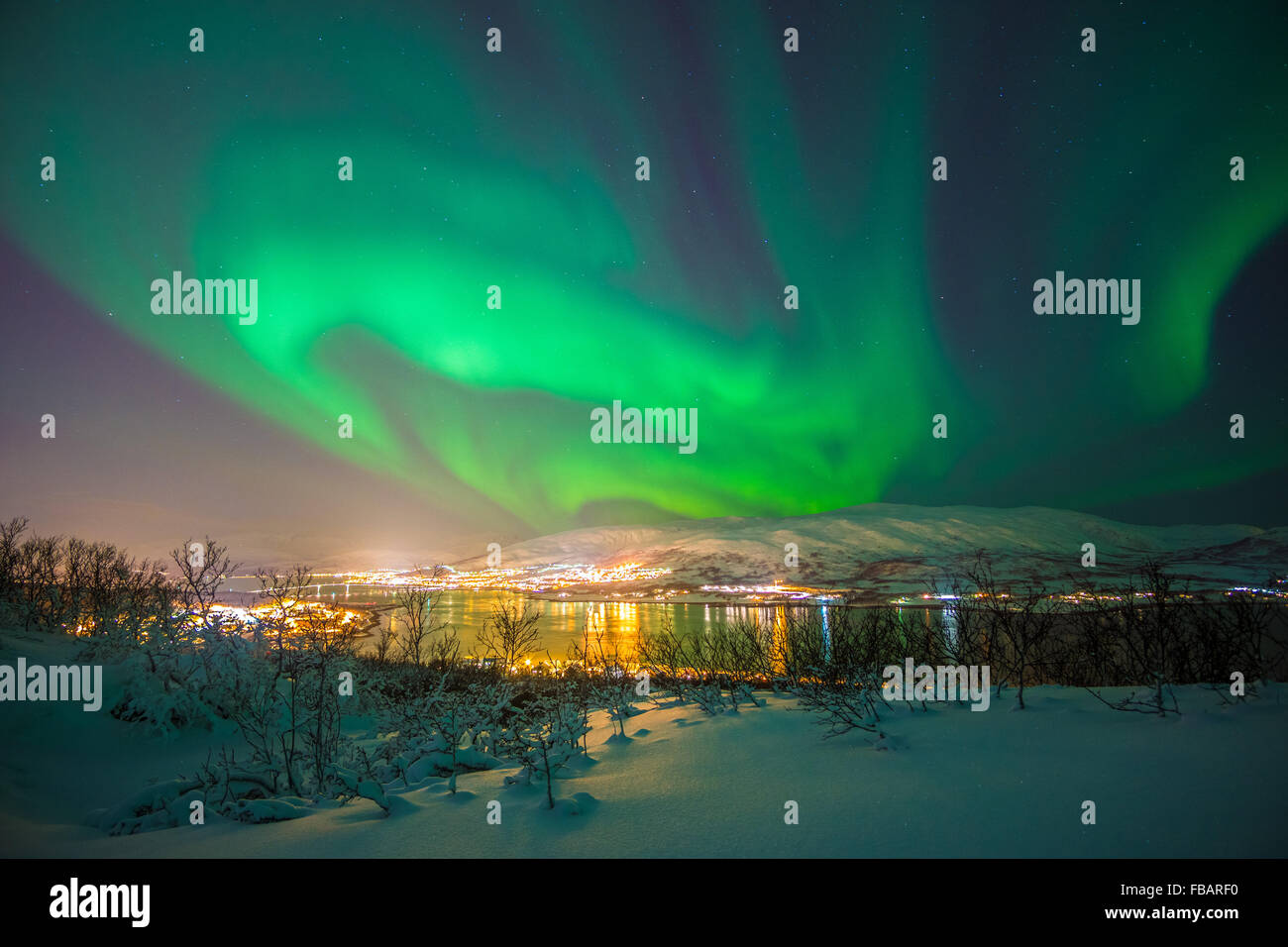 Aurora Borealis über Tromsø, Nordnorwegen Stockbild