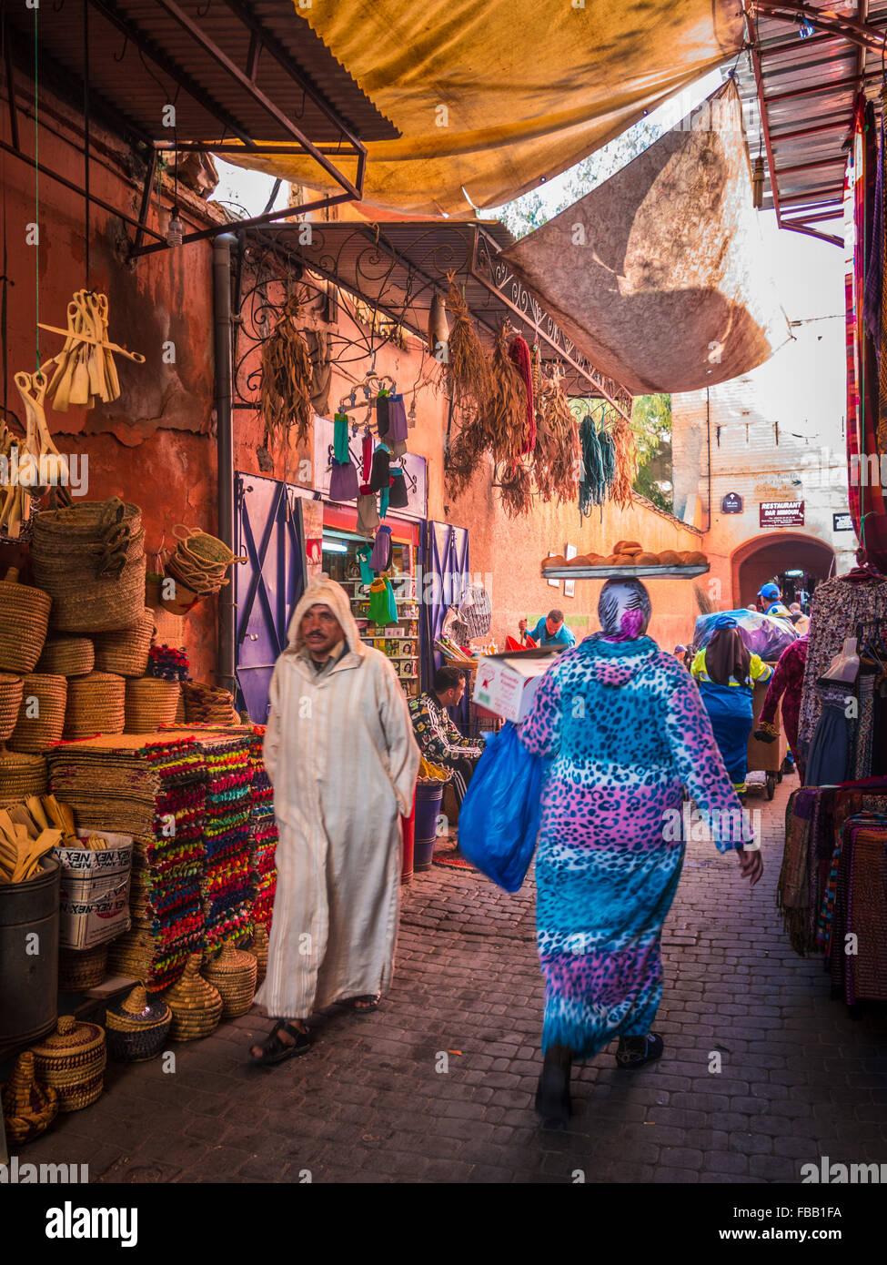 Leben auf der Straße Medina von Marrakesch Stockbild