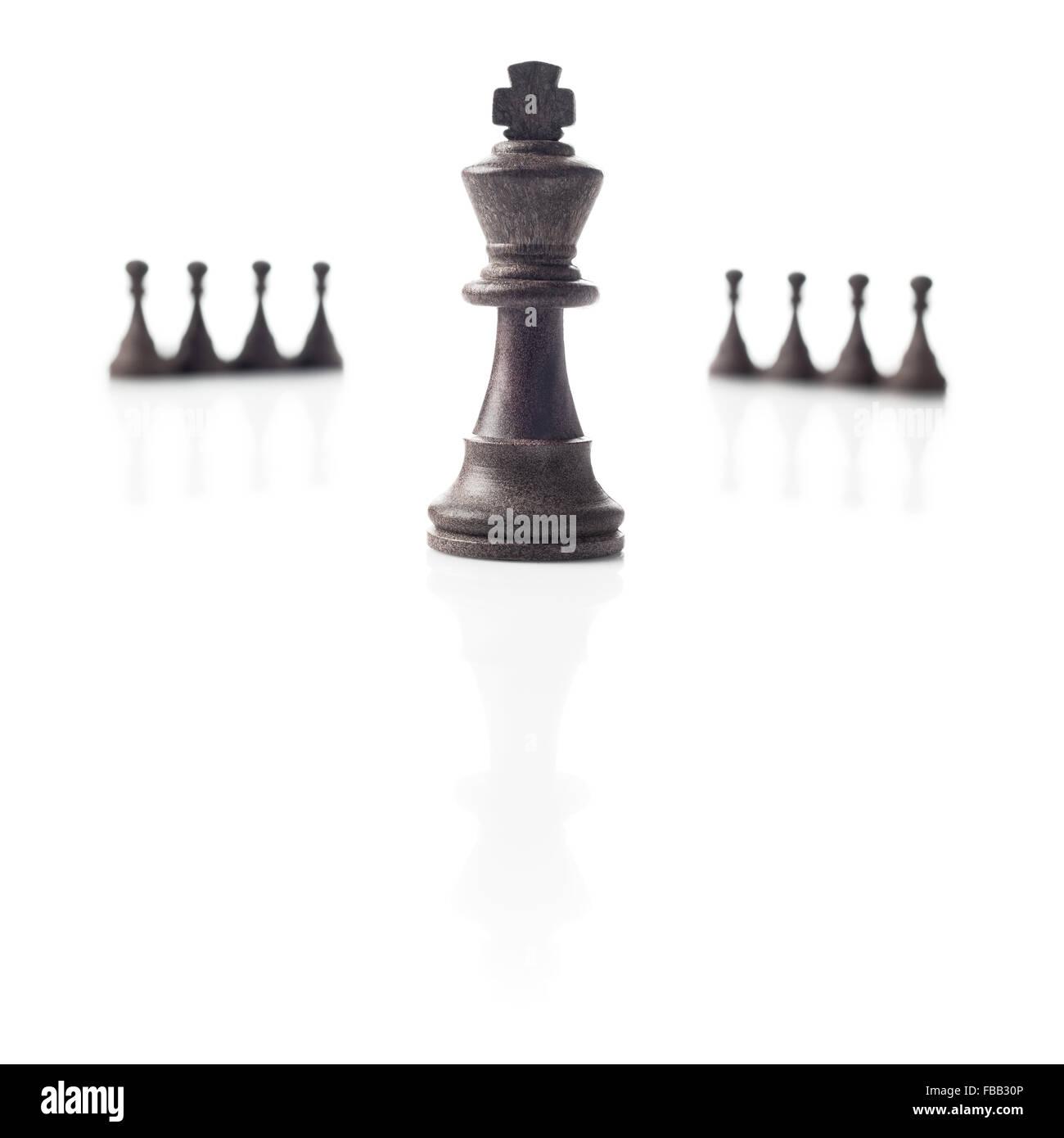 Schach. Schwarzer König, acht Bauern aus dem Fokus und ihre Schatten auf weißem Hintergrund. Leistung, Stockbild