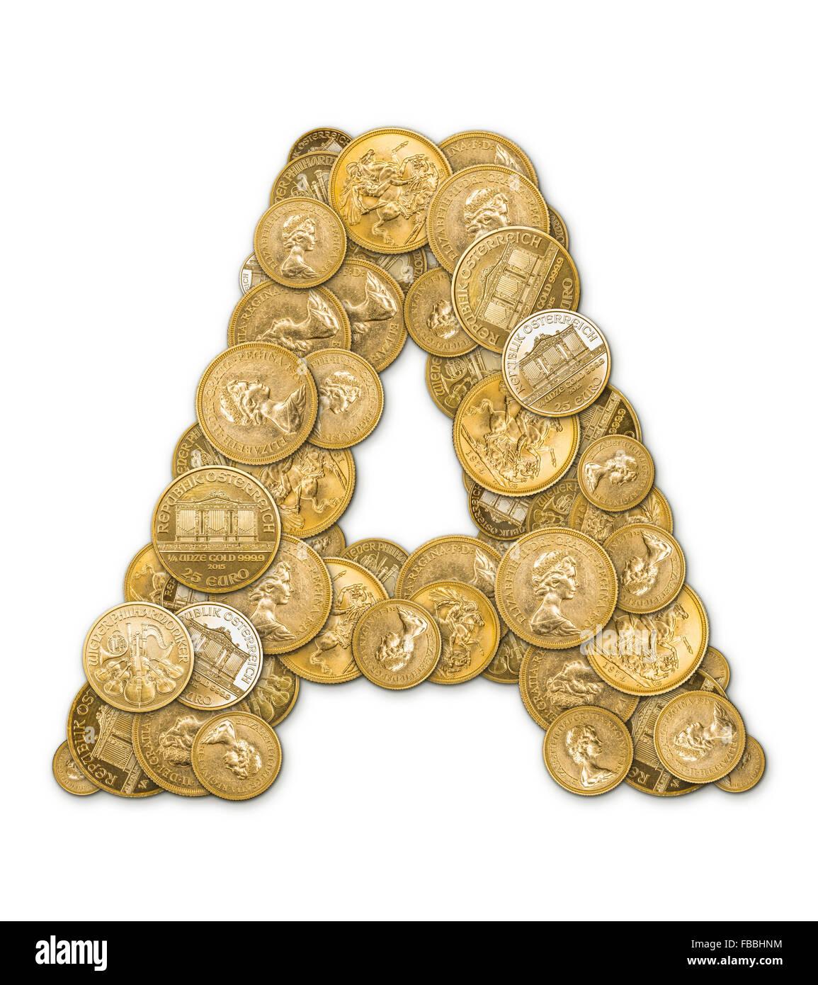 Buchstaben A Hergestellt Aus Gold Münzen Geld Isoliert Auf Weißem