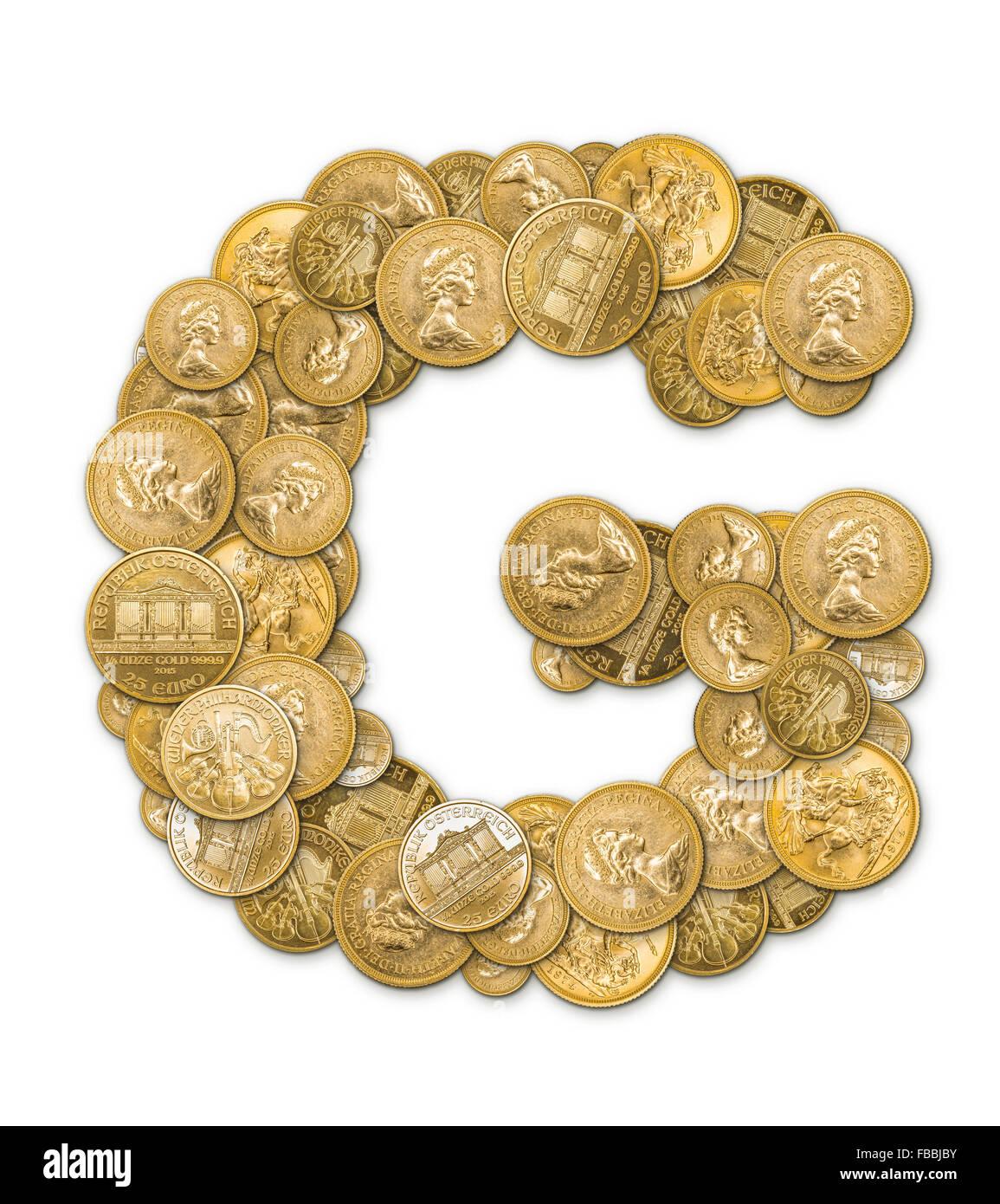 Buchstabe G Hergestellt Aus Gold Münzen Geld Isoliert Auf Weißem