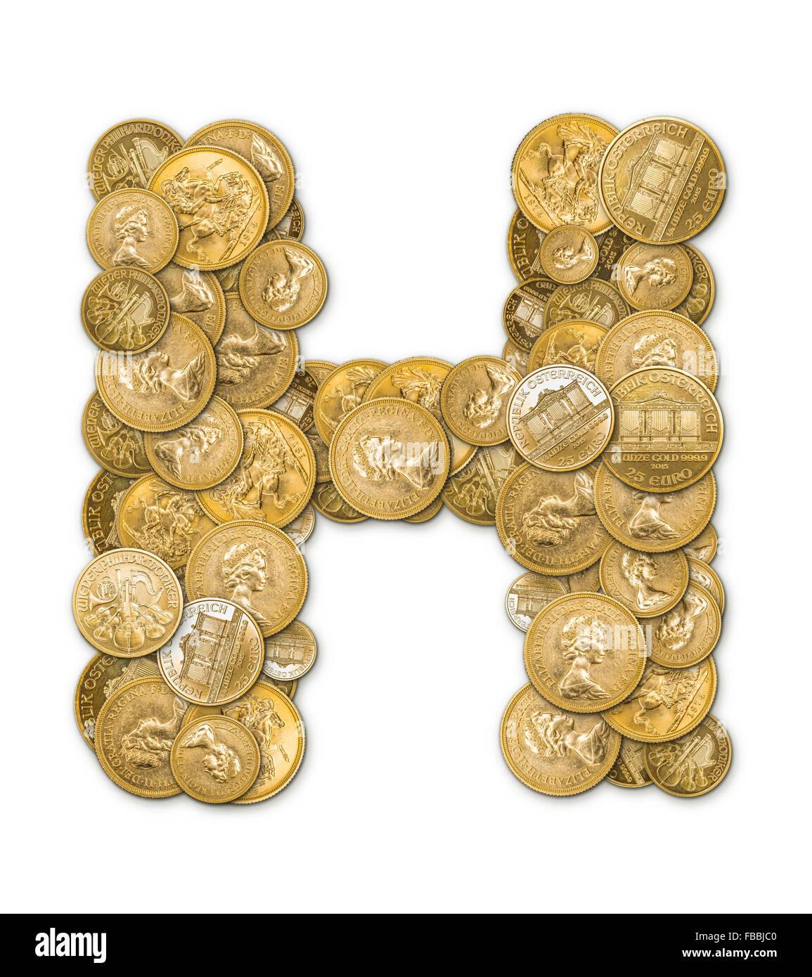 Buchstabe H Hergestellt Aus Gold Münzen Geld Isoliert Auf Weißem