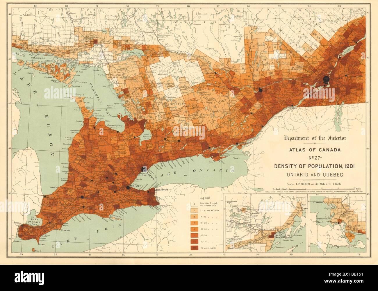 Kanada Bevolkerungsdichte 1901 Ontario Und Quebec Weisse 1906