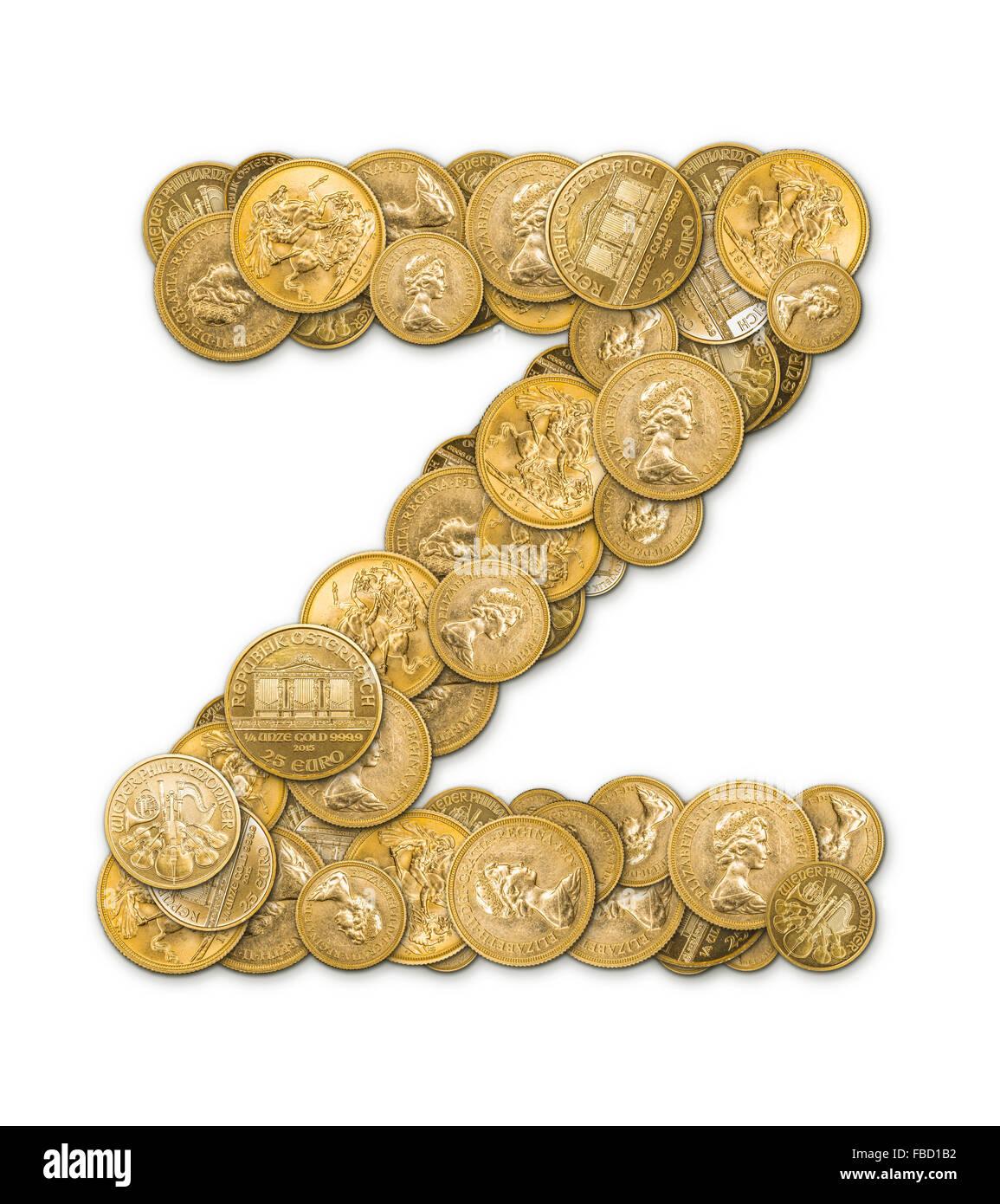 Buchstabe Z Hergestellt Aus Gold Münzen Geld Isoliert Auf Weißem