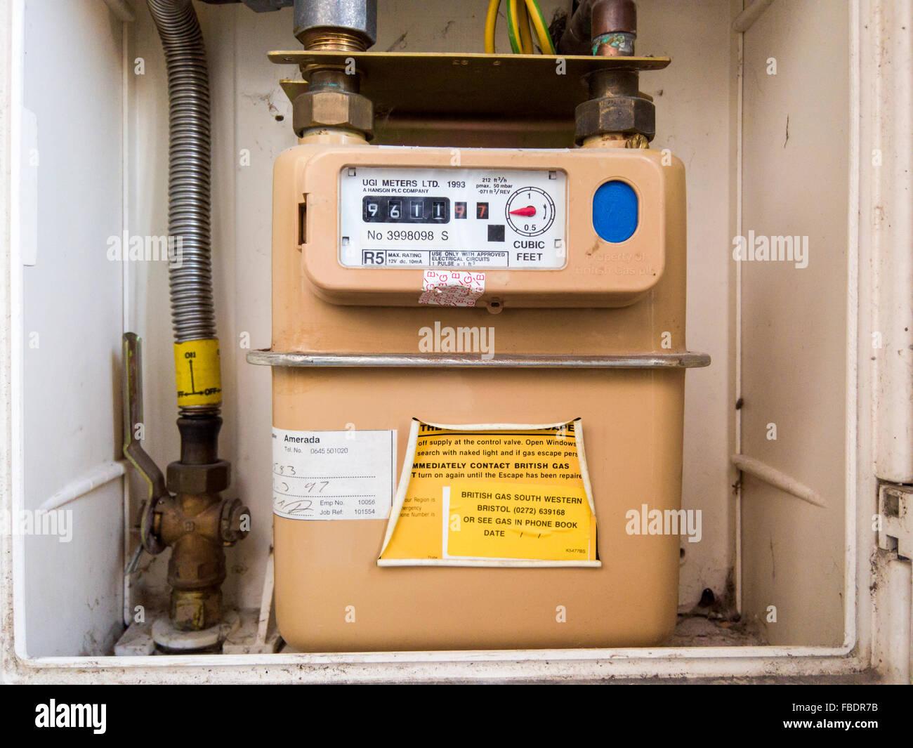 Inländischen Gas Meter Vereinigtes Königreich Stockfoto, Bild ...