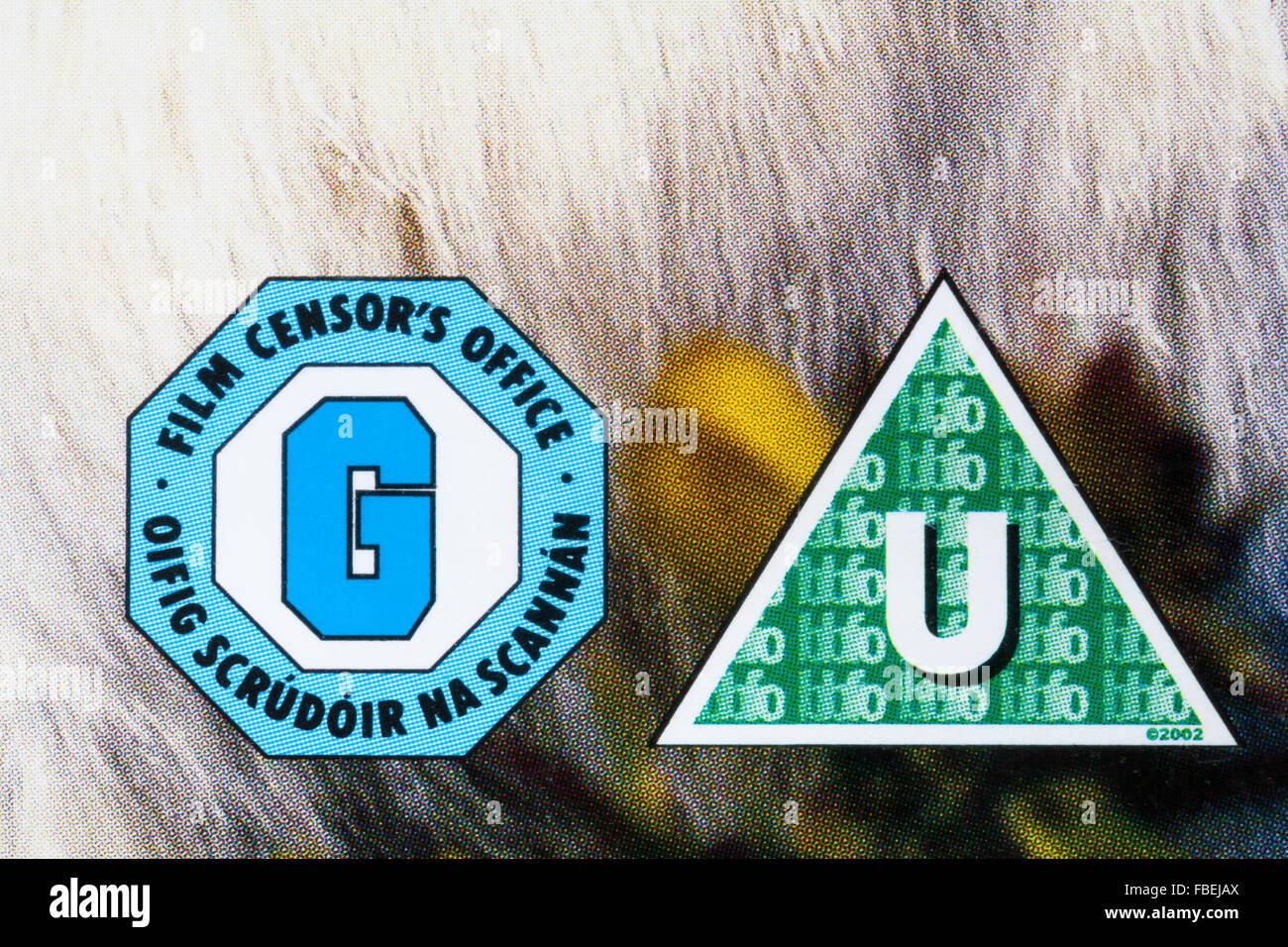 U Bewertung auf dvd Fall g film Zensur Stockfoto, Bild: 93134802 - Alamy