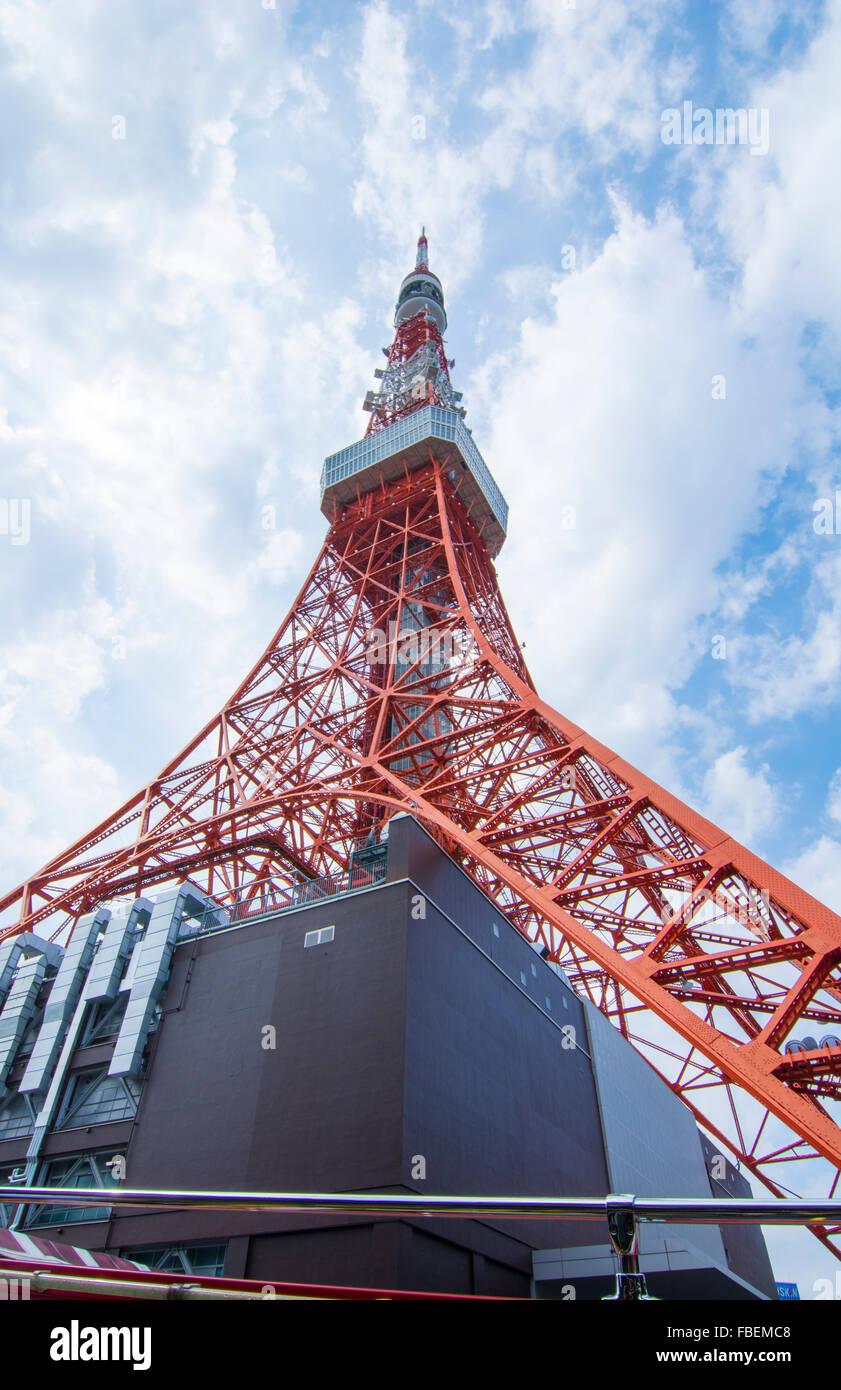 Tokyo Japan berühmten Tokyo Tower rot Radio Turm und Wahrzeichen Denkmal Stockbild