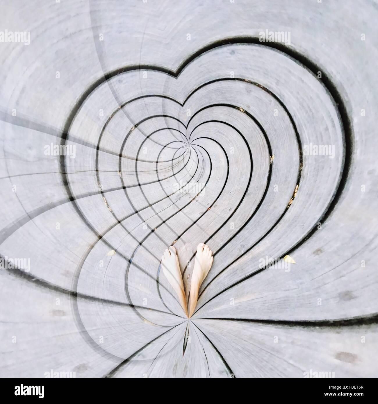 Herz auf Bürgersteig Stockbild