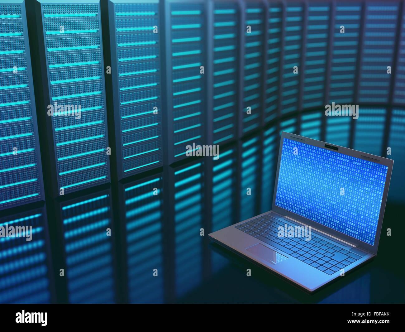 Bild-Konzept von Technik und Wissenschaft von digitalen Informationen. Ein Laptop vor mehreren Servern mit Binärzahlen Stockbild