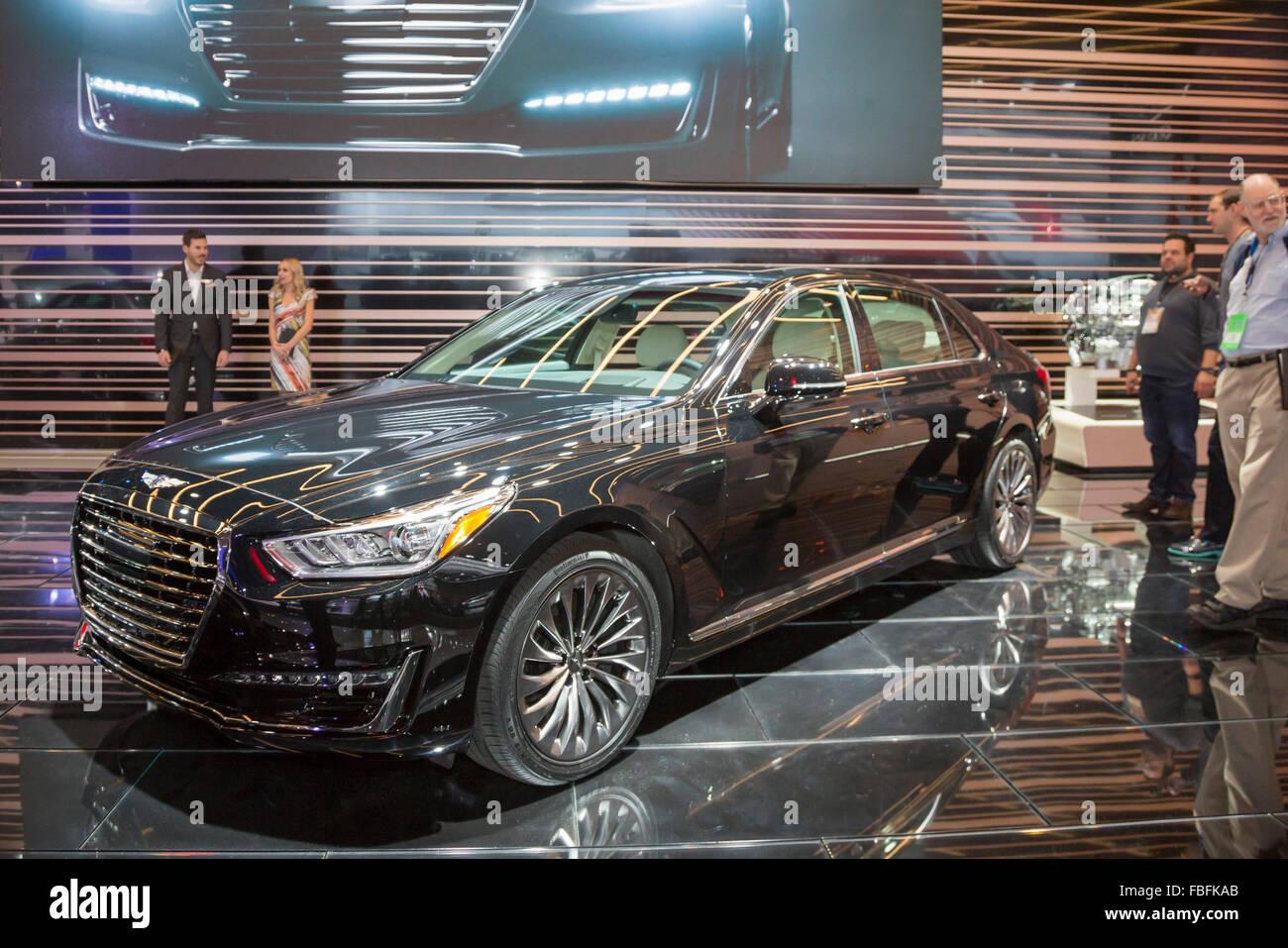 Detroit, Michigan - der Hyundai Genesis G90 auf dem Display auf der North American International Auto Show. Stockbild