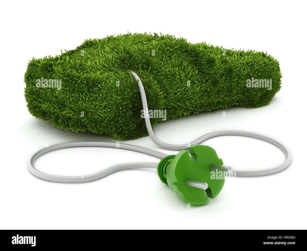 Grünes Auto bedeckt mit Grass Textur an den Stecker angeschlossen. Stockbild