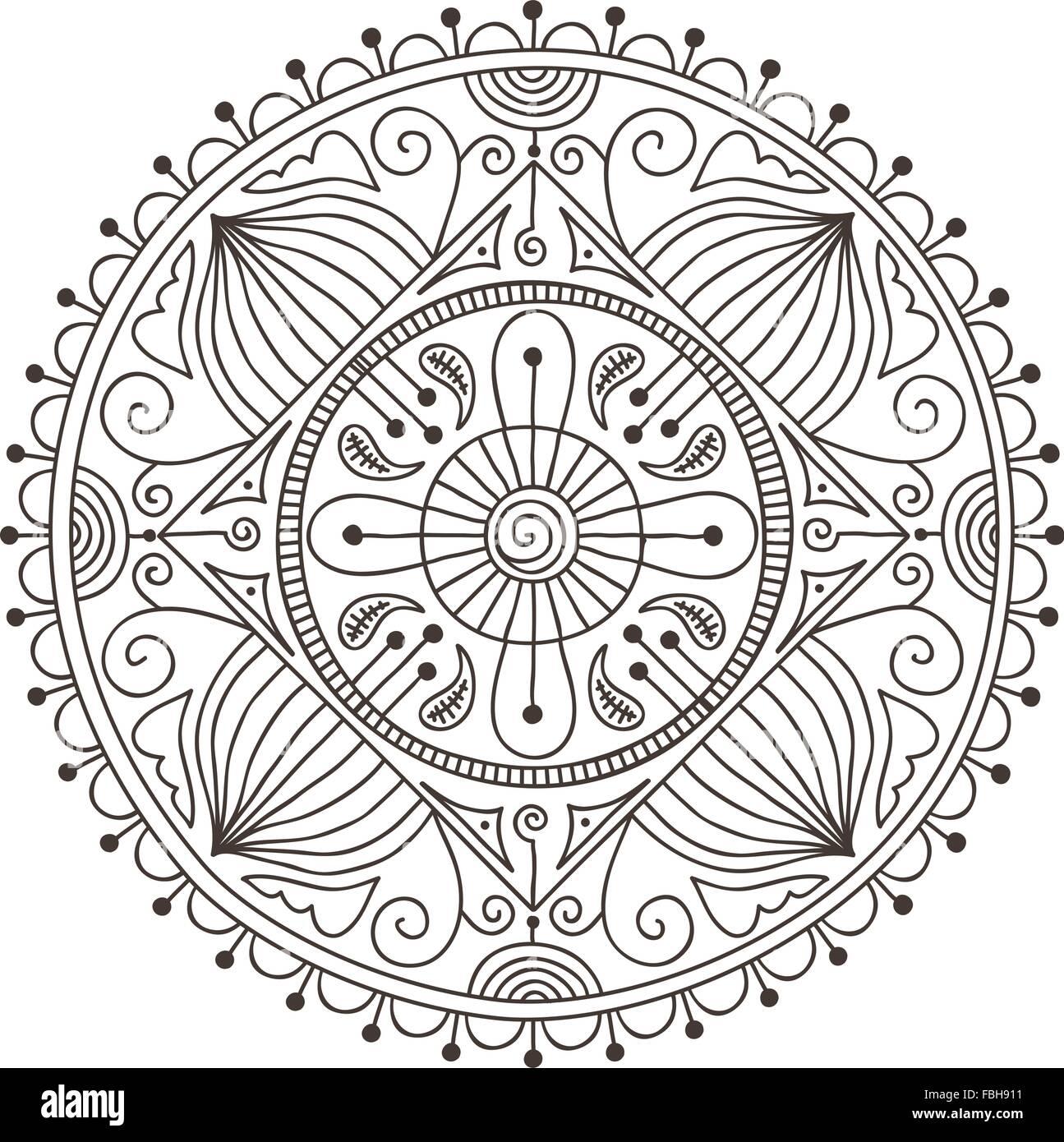 Wunderschöne handgezeichnete Doodle mandala Vektor Abbildung - Bild ...