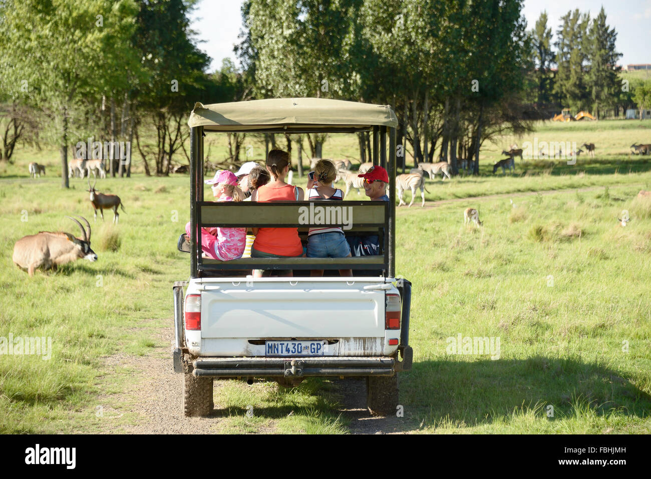 Safari-Jeep, Tier-Welt-Wildpark, Emerald Resort & Casino, Vanderbijlpark, Emfuleni Gemeinde, Gauteng, Südafrika Stockbild