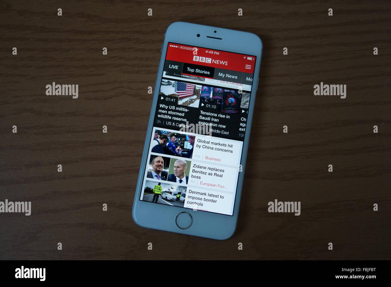 BBC News Smartphone iphone Stockbild