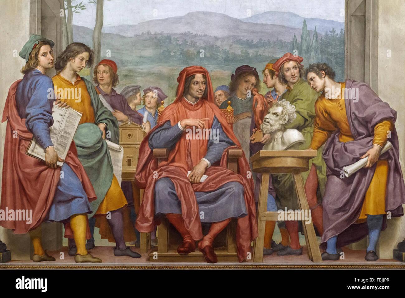 Florenz. Italien. Fresko von Lorenzo il Magnifico (1469-1492) umgeben von Künstlern, unter ihnen das junge Stockbild