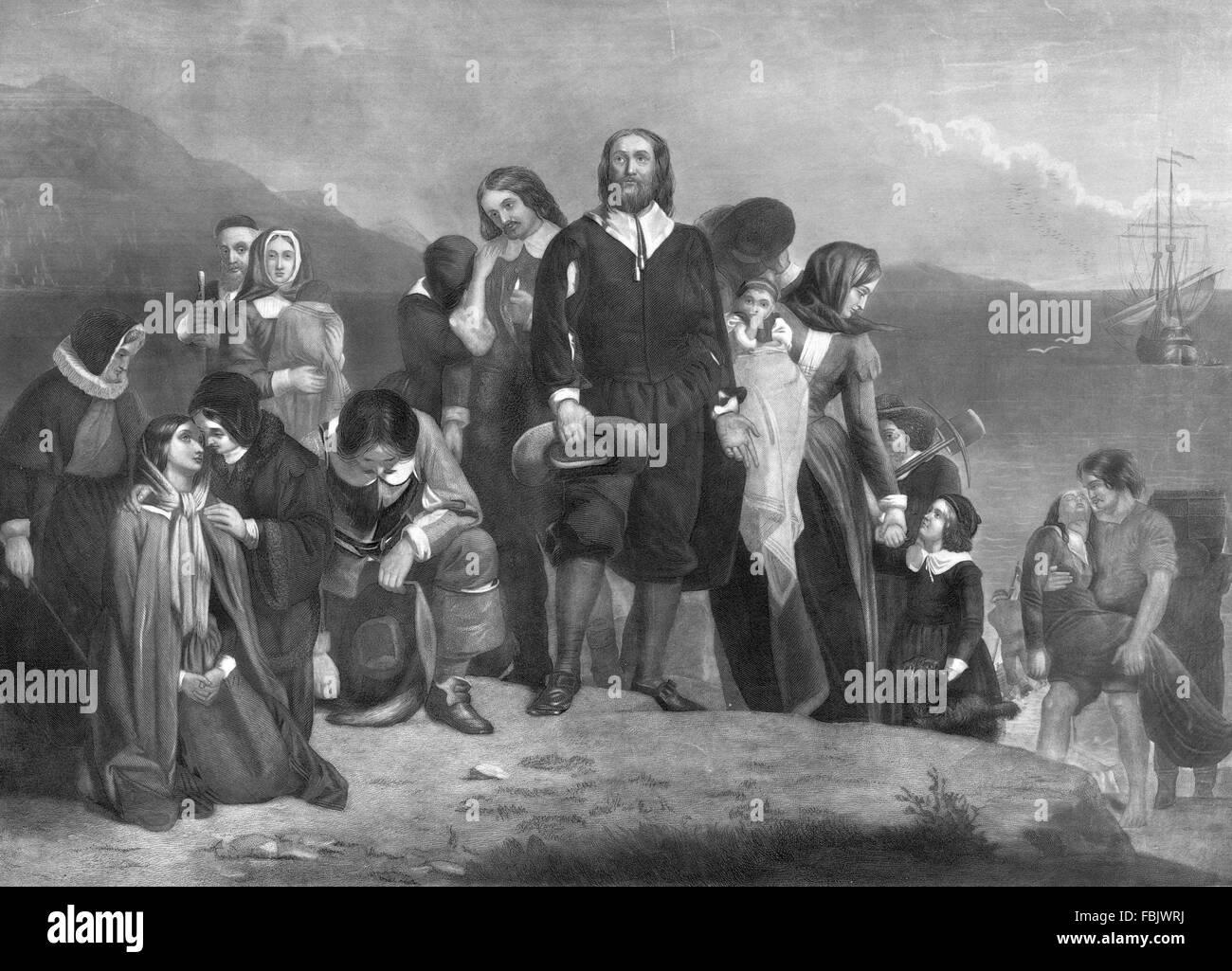 Pilgerväter. Eine Darstellung der Landung der Pilgerväter in Amerika im Jahre 1620 Stockbild