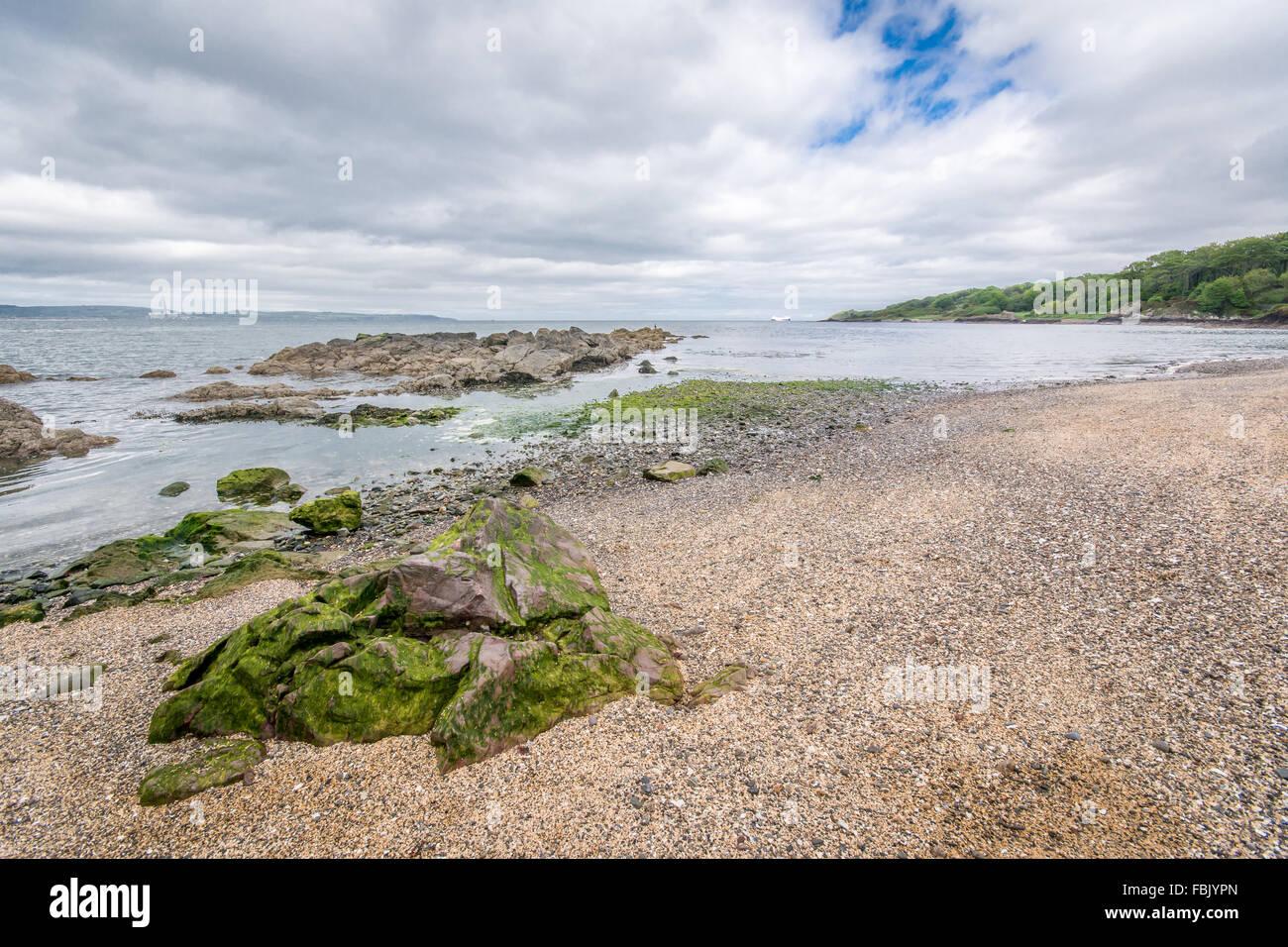 Einen kleinen Ausschnitt aus der Selbstabholermarkt-Strand im County Down in Nordirland Stockbild