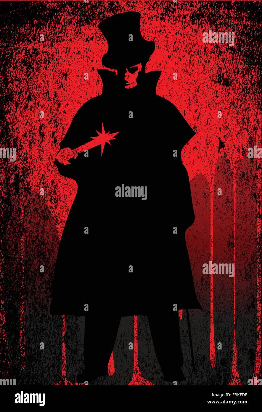 Jack the Ripper über einem roten Grunge Hintergrund Stockbild