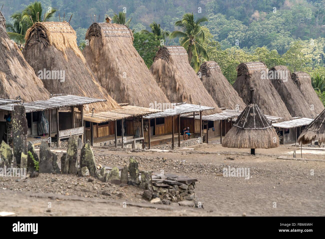 traditionelle hohe strohgedeckte Häuser und Schreine in der Ngada Dorf Gurusina in der Nähe von Bajawa, Stockbild