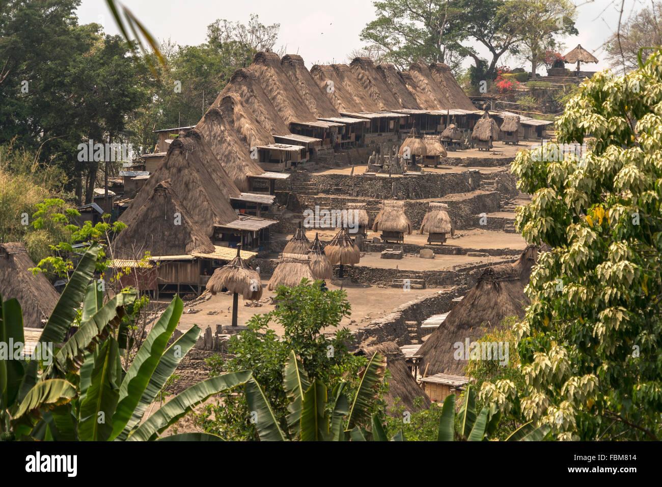 traditionelle hohe strohgedeckte Häuser und Schreine in der Ngada Dorf Bena in der Nähe von Bajawa, Flores, Stockbild