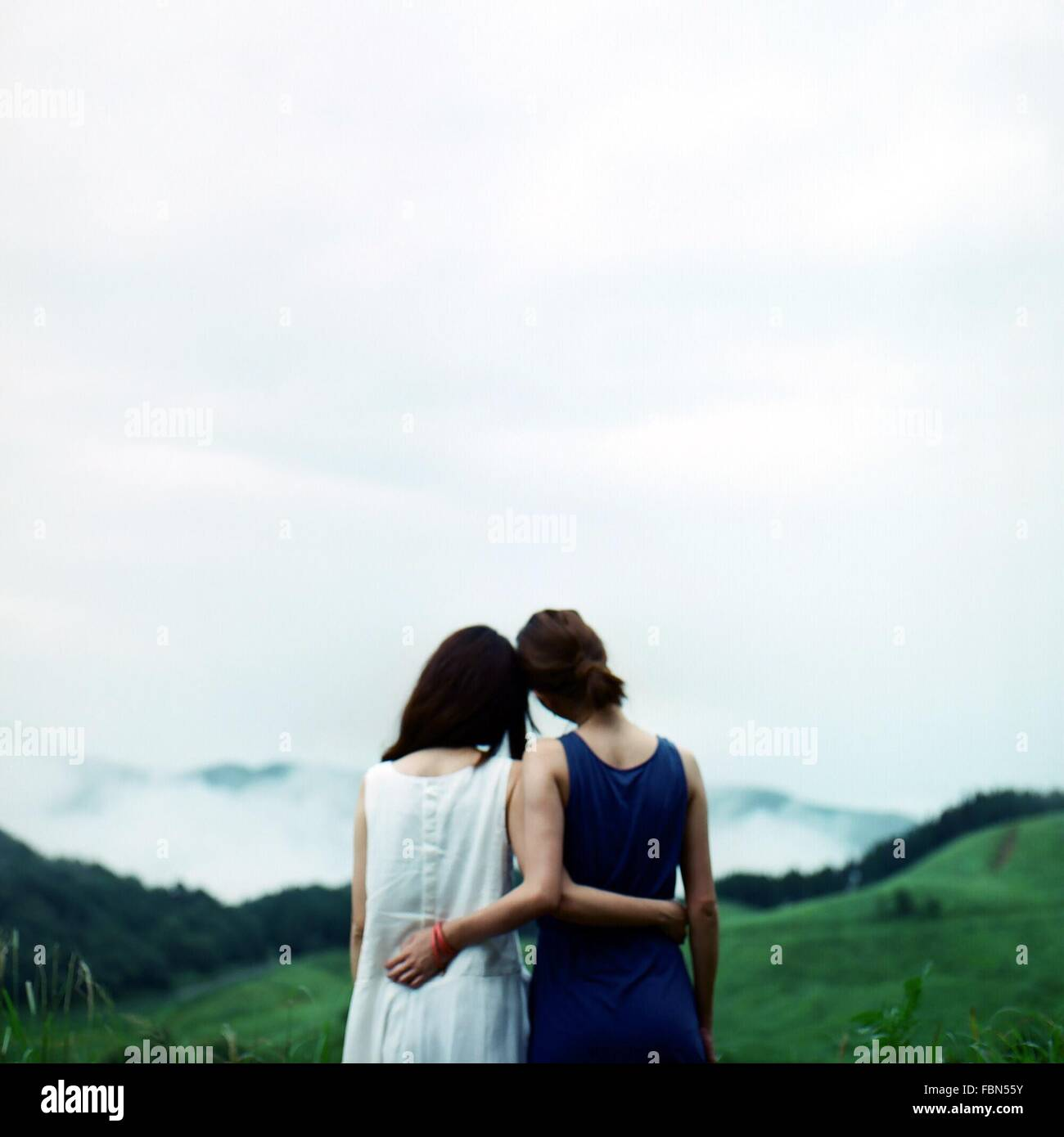 Rückansicht des Freundinnen auf Feld gegen Himmel stehen Stockbild