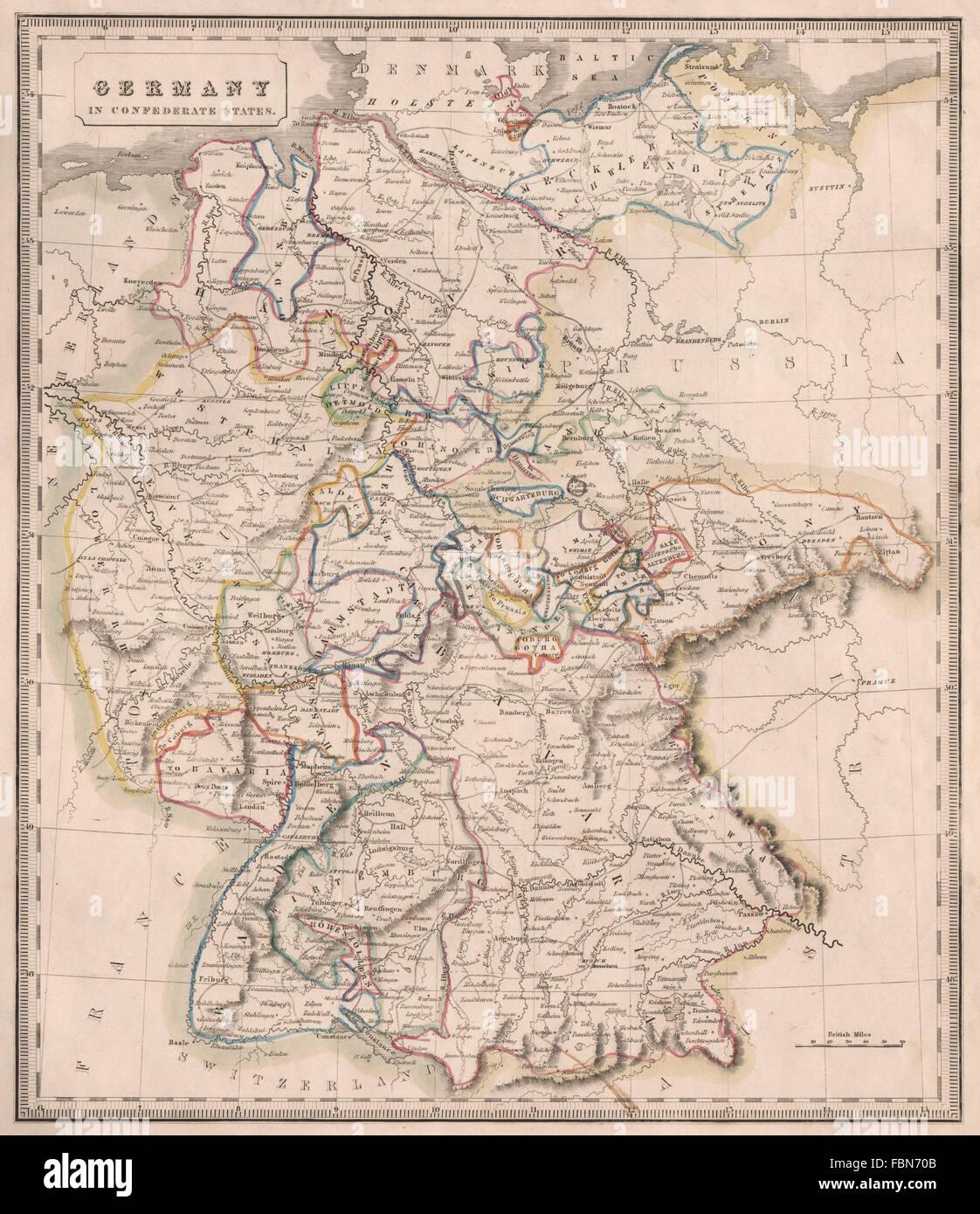 Bayern Karte Flüsse.Deutschland Im Konföderierten Staaten Flüssen Bayern Hannover C