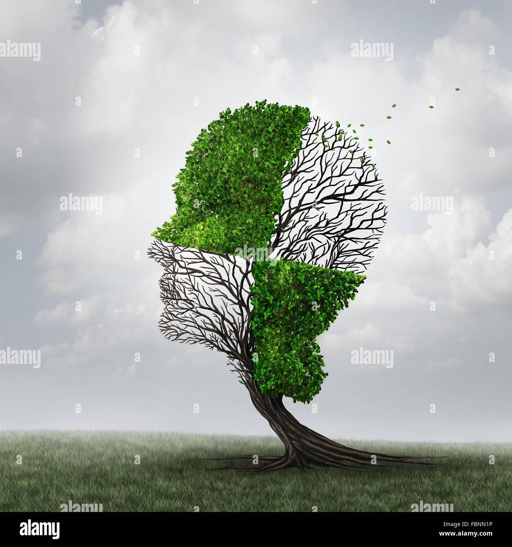 Abschottung und Psychologie als Geist Abwehrmechanismus Konzept oder psychischen Krankheit Metapher als Demenz mit Stockbild