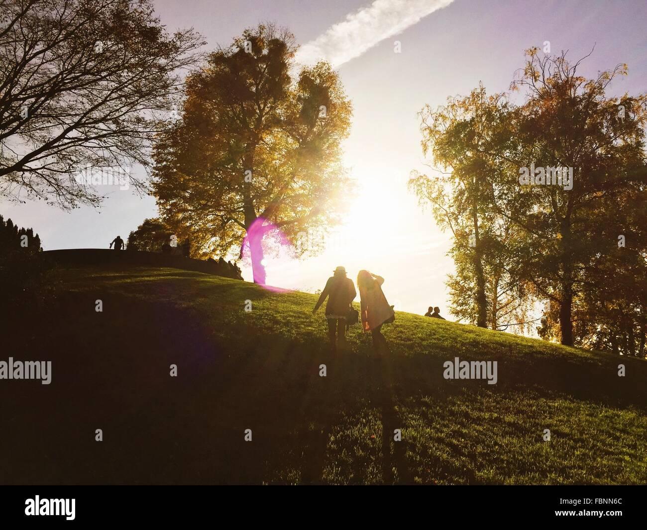 Rückansicht des jungen Freundinnen klettern Hügel im Park Stockbild