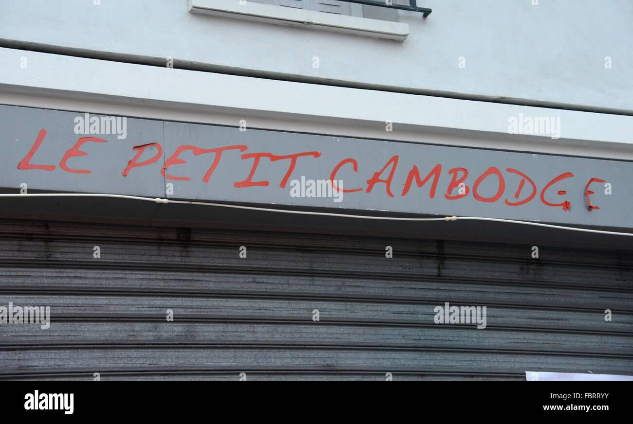 """Nach den Terroranschlägen von Paris: das Restaurant """"Le Petit Cambodge"""", Paris, 12. Dezember 2015. Stockbild"""