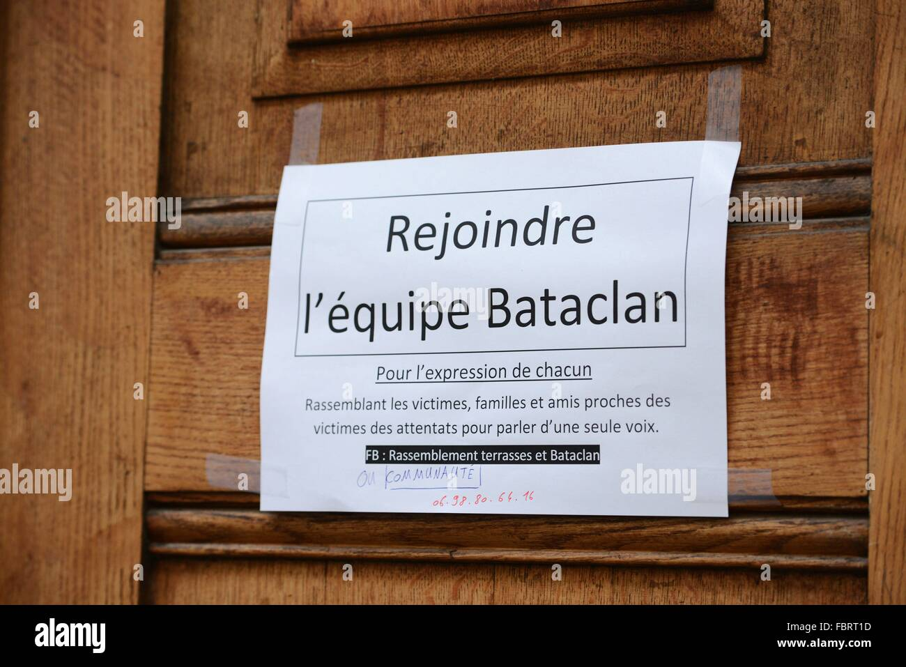 Konzerthauses Bataclan in Paris in Paris, Dec.12, 2015. Stockbild