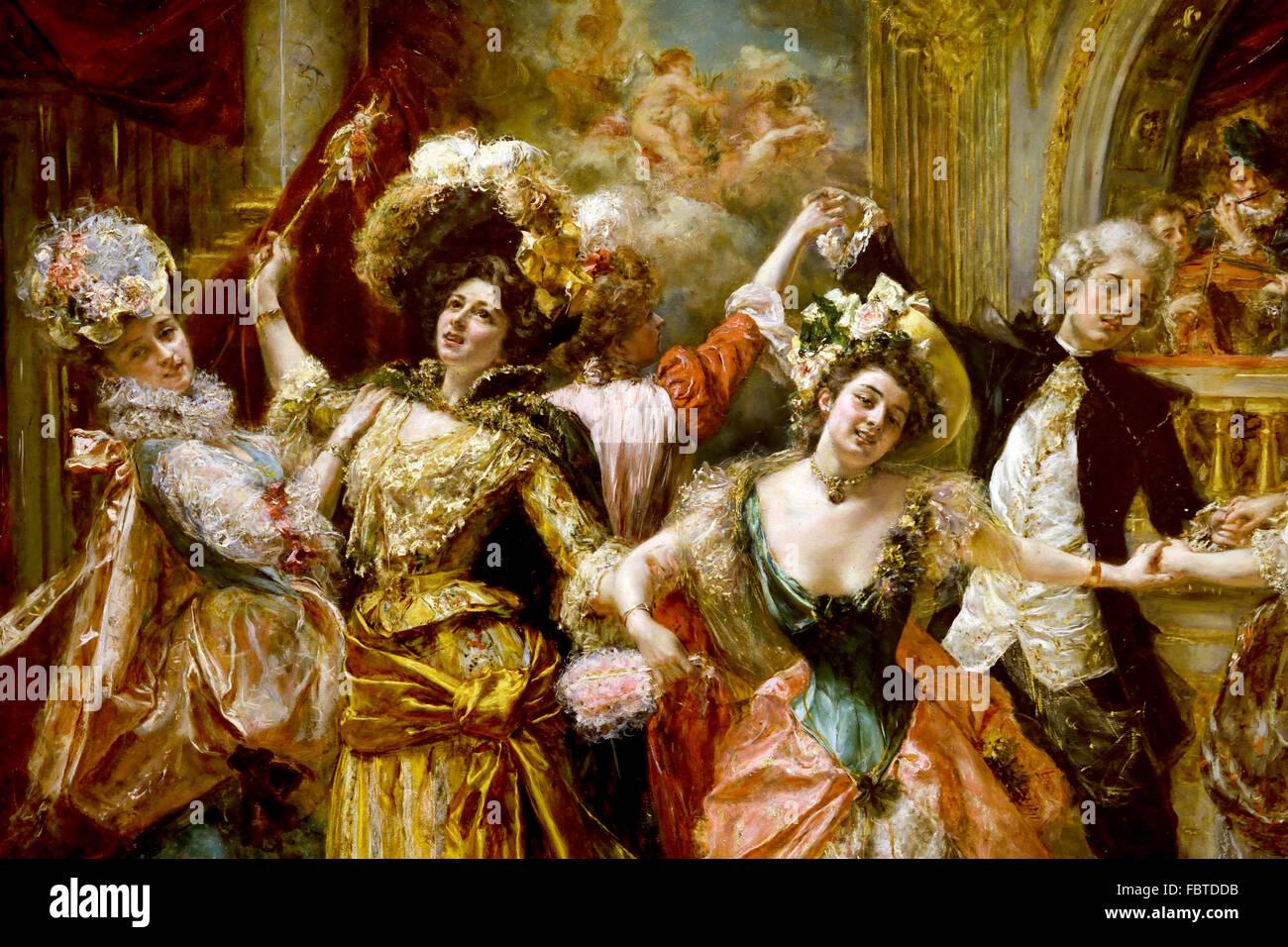 Der Beau bei der Soirée von Eduardo León Garrido 1856-1949 spanischen Andalusien Stockbild