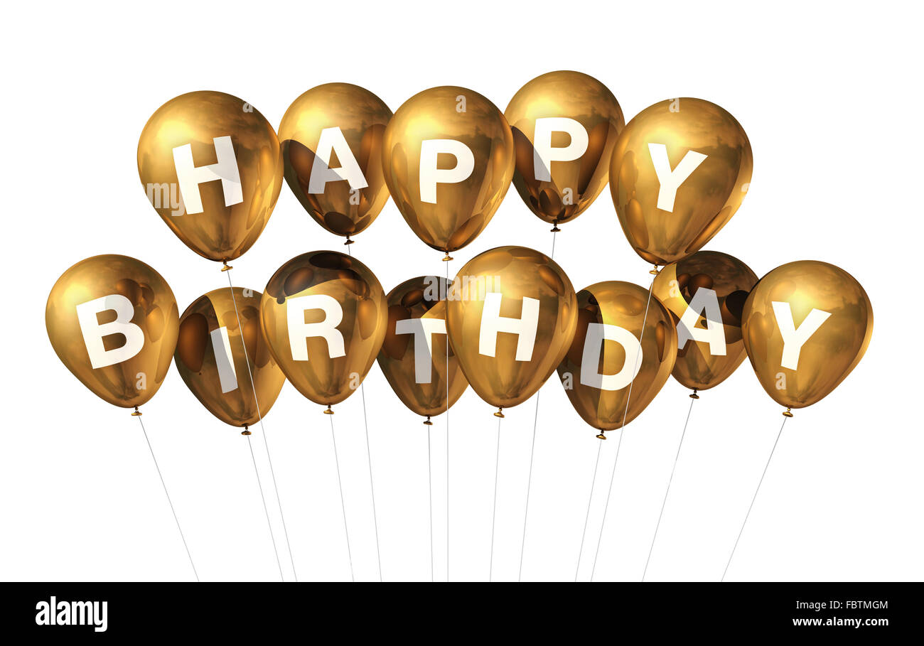 Gold Happy Birthday Ballons Stockbild