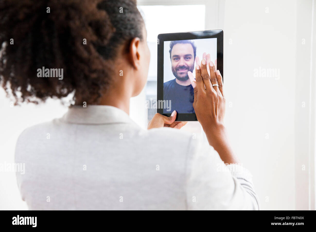 Paar tun video-chat Stockbild