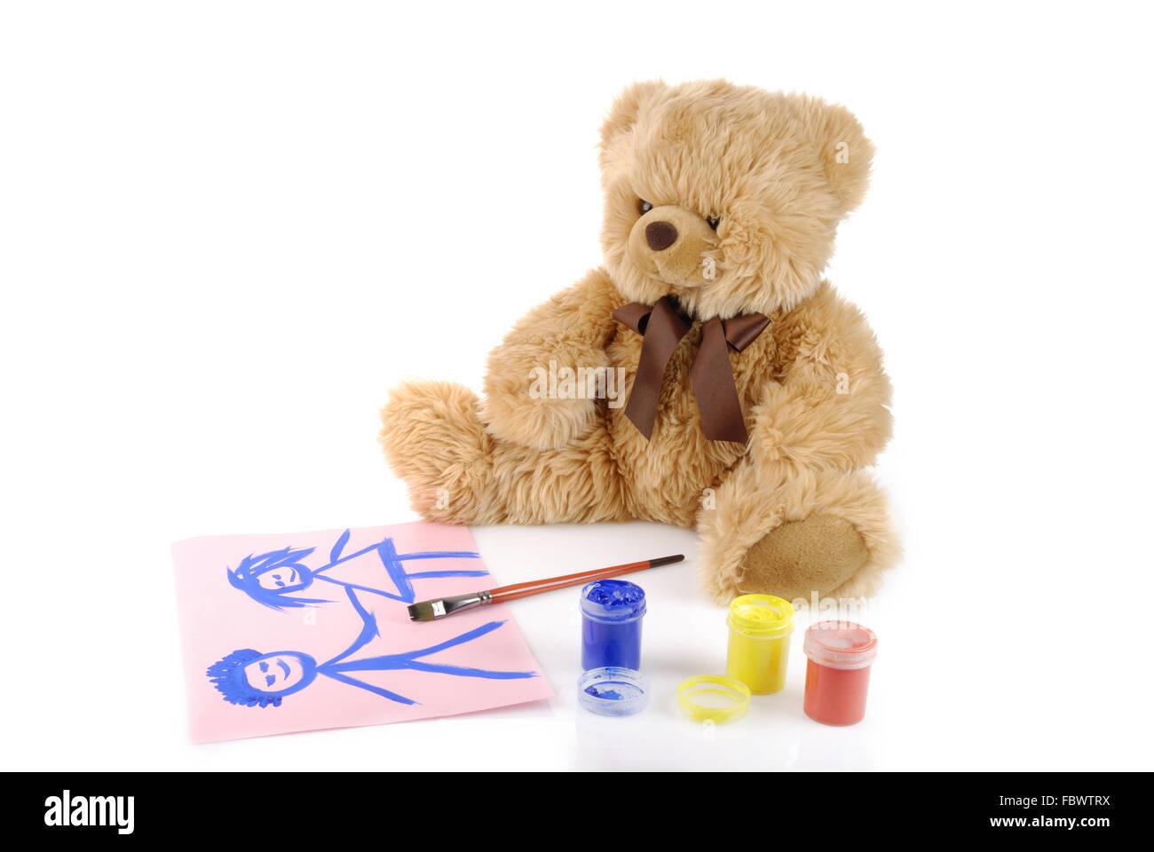 Teddybär Malerei Farben isoliert auf weiss Stockfoto, Bild: 93381342 ...